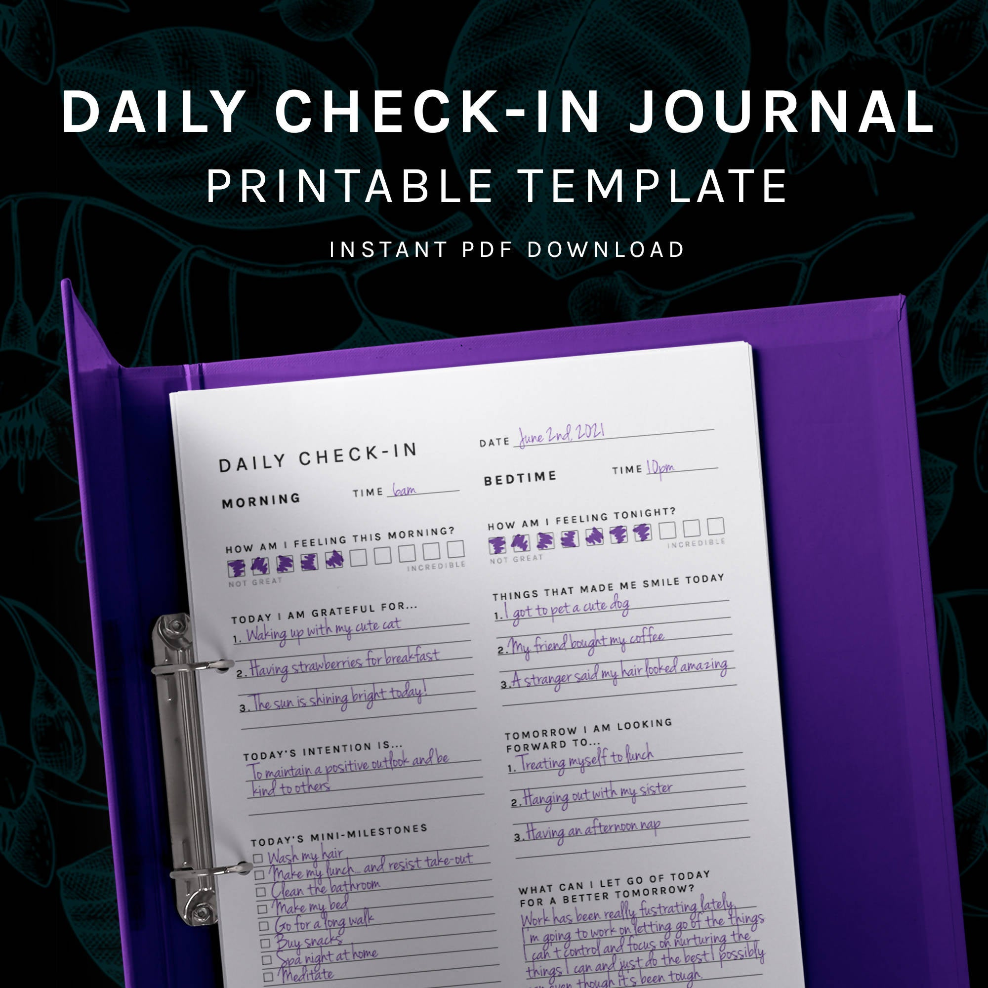 Positivity and Gratitude Daily Check-in Journal Page - PDF Printable Template