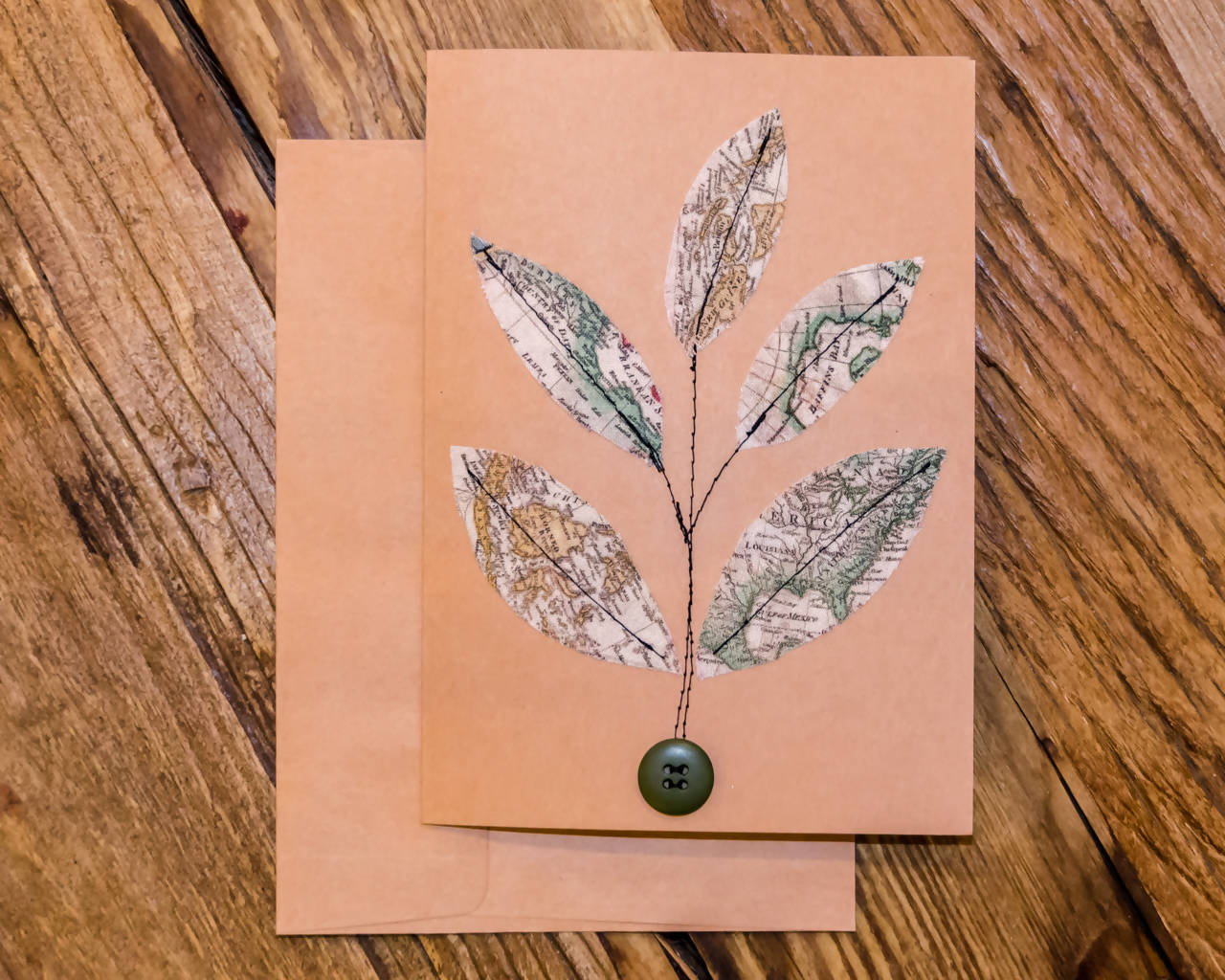 Leaves and Maps Greeting Card - Handmade - Fabric on paper / Blank Inside for any occasion