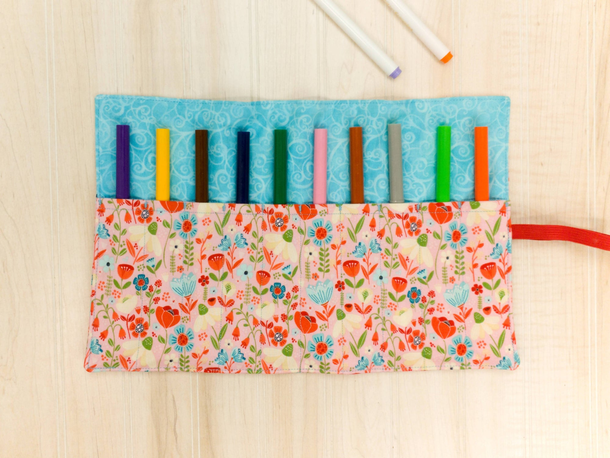 Marker Roll Up - Pencil Crayon Pouch - Pink & Blue Floral - Personalised
