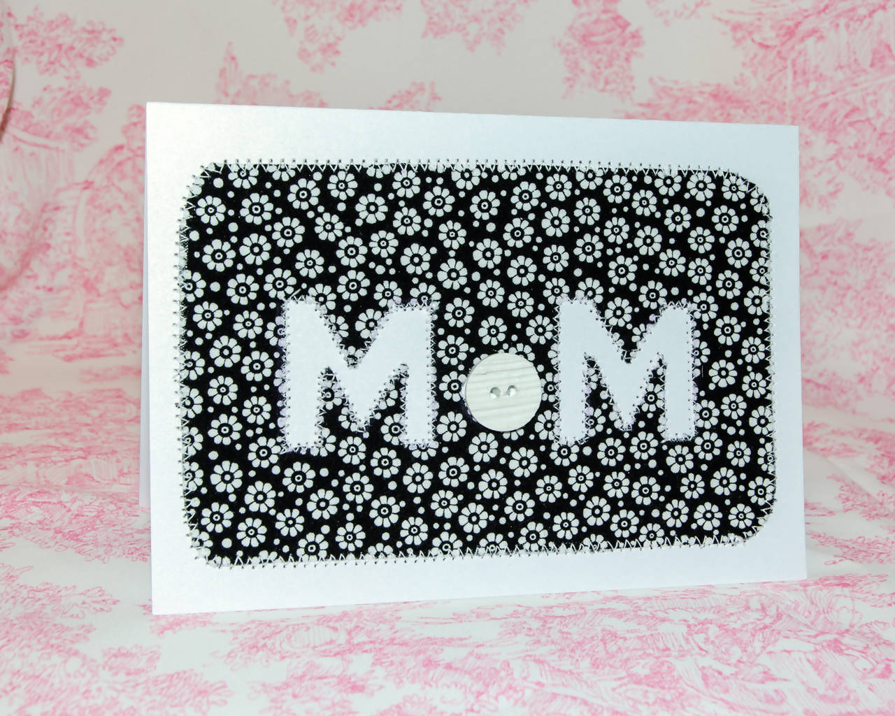 Mother's Day Greeting Card - Handmade - White flowers on black
