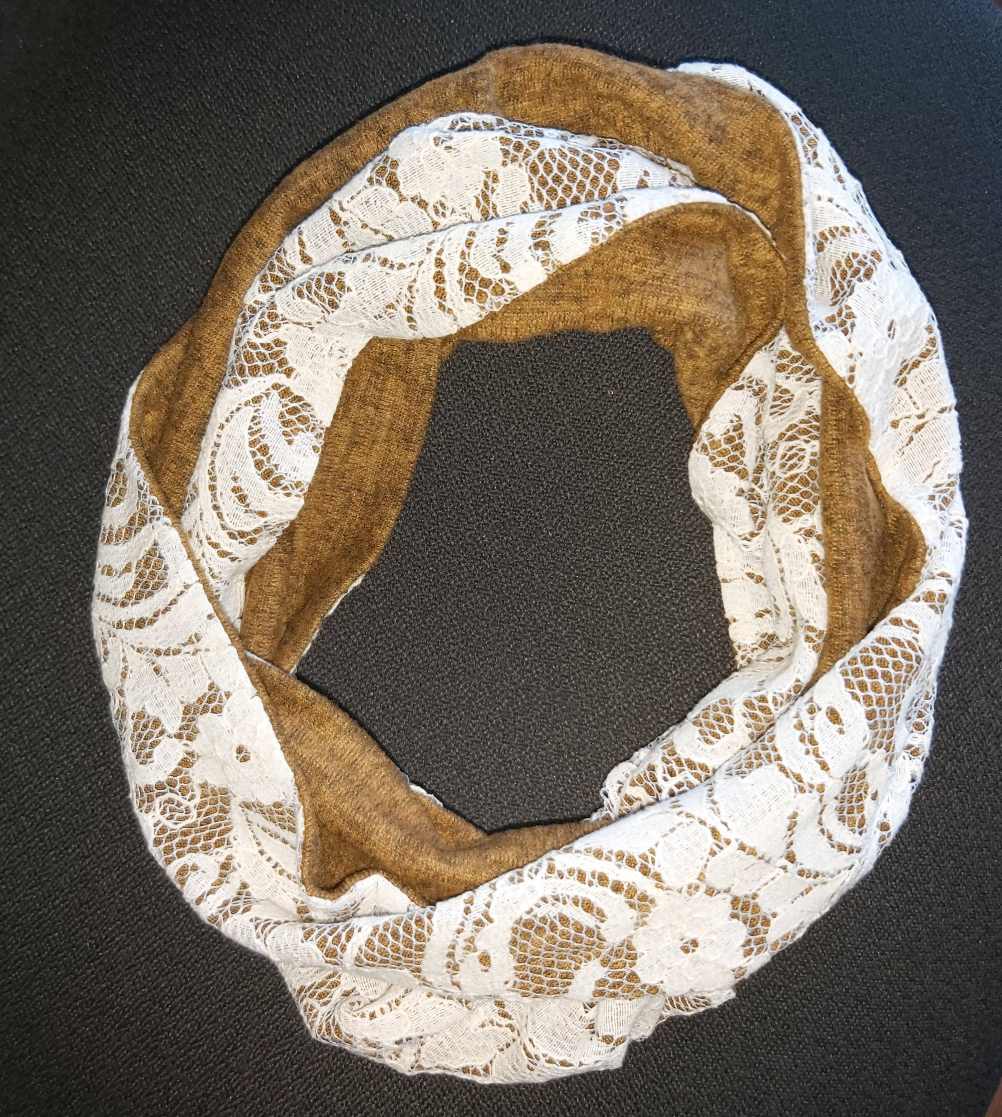Soft Knit and Lace Infinity Scarf