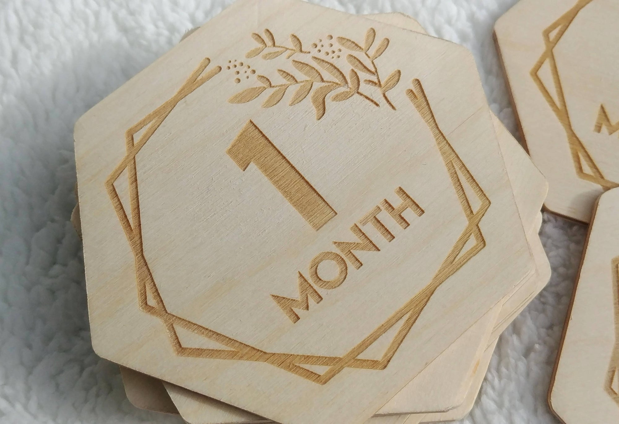 Hexagon Wooden Monthly Milestones- Baby Photo Prop