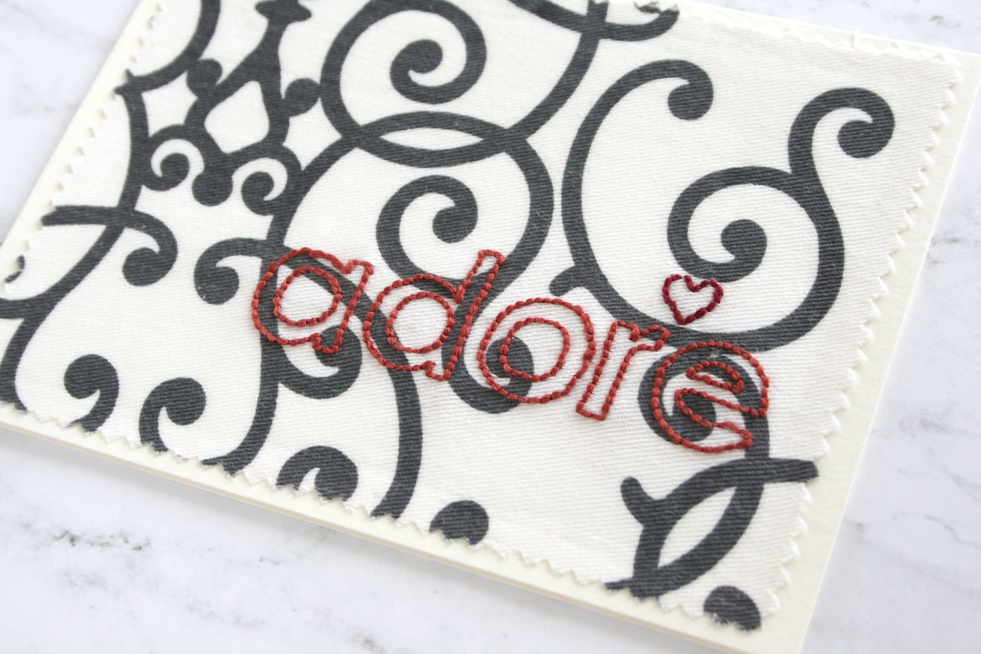adore - hand embroidered greeting card (ironworks fabric)