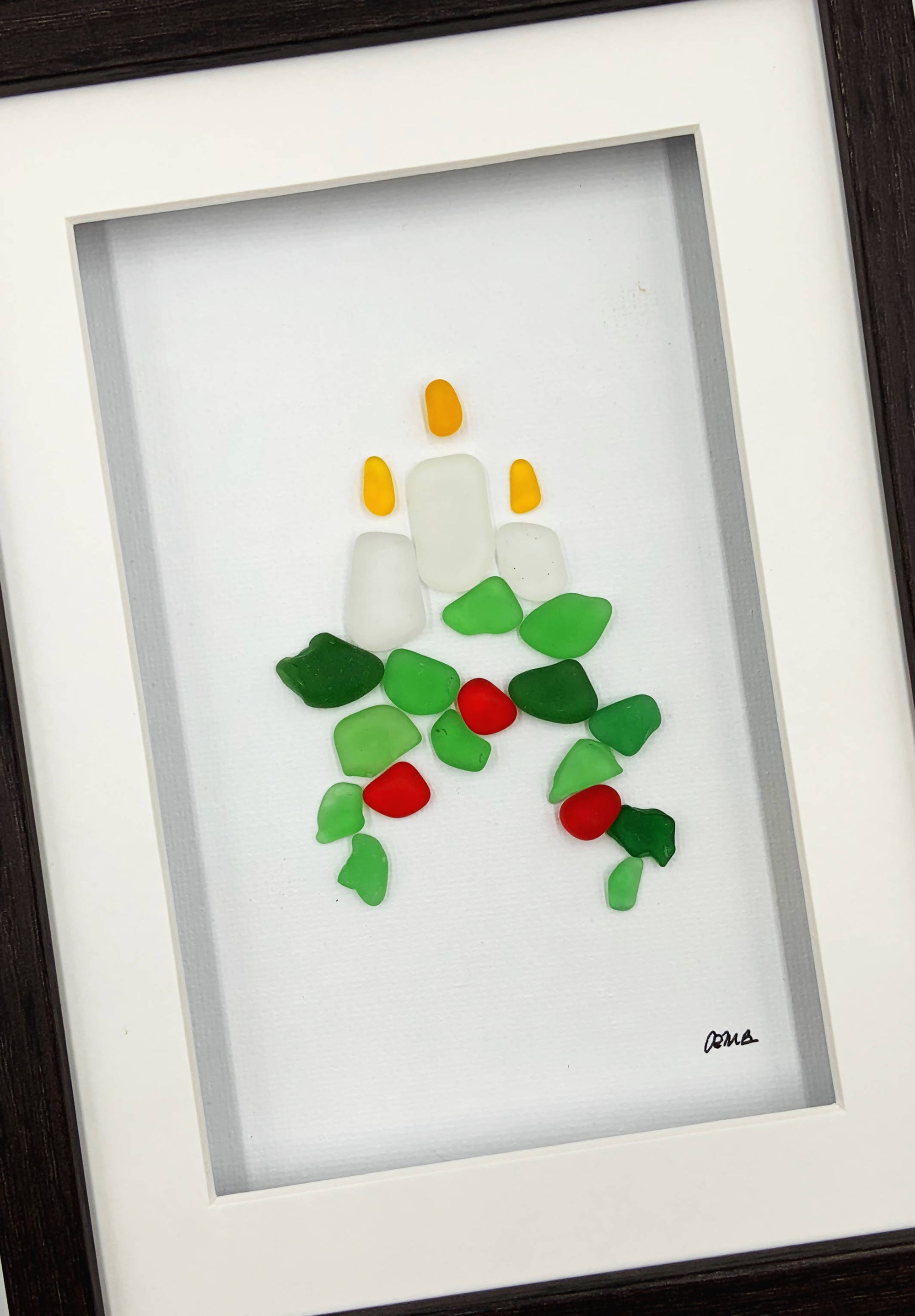 Sea glass art, 5 by 7, Candles