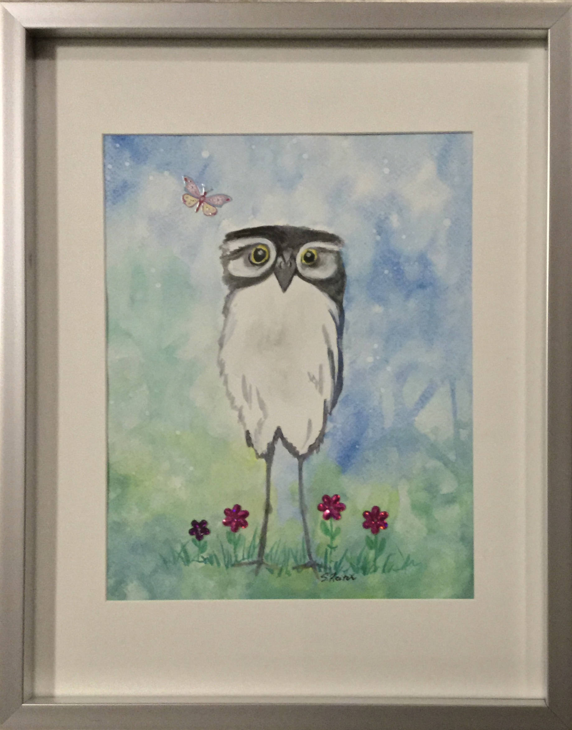 Watercolour of a Whimsical Baby Owl