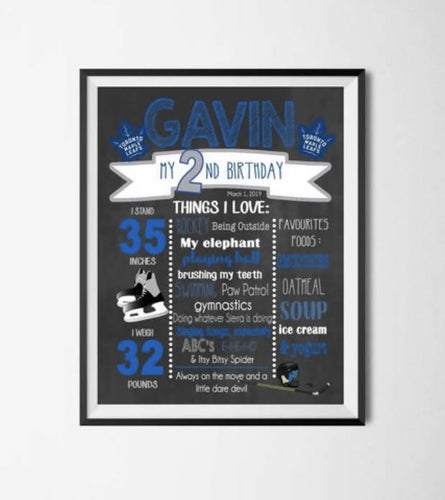 Toronto Maple Leafs Birthday Chalkboard Milestone Poster Digital or Printed