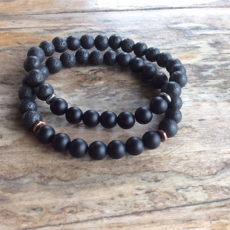 Men's Onyx and Black Lava Bead Stretch Bracelet