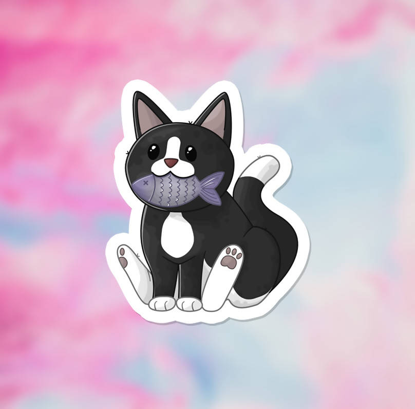 "Proud Tuxedo Cat Vinyl Sticker (3"") - glossy finish"