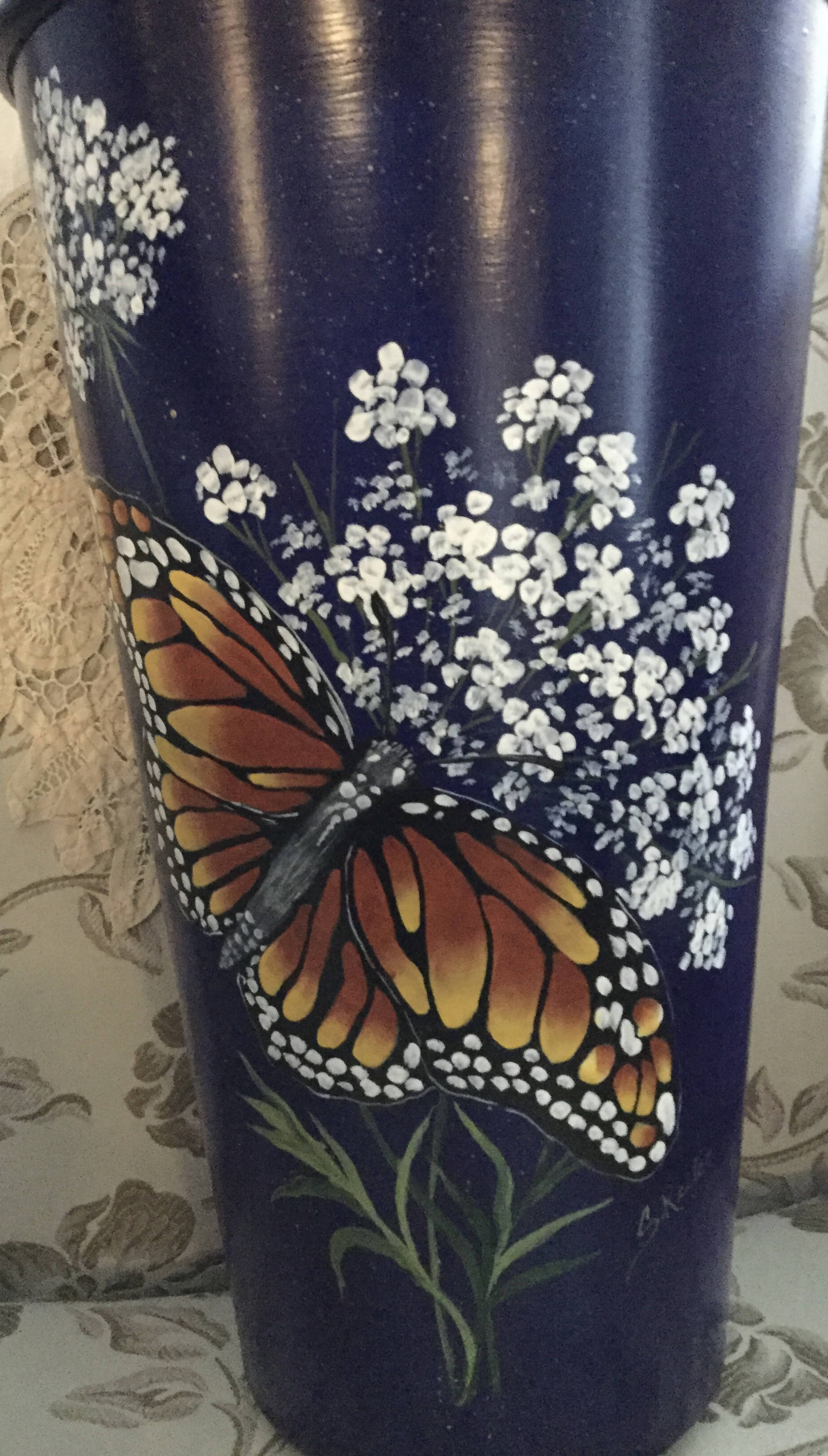Hand Painted , Unique metal bucket painted inside and outside.Painted with a Monarch Butterfly and Queen Anne's Lace Flower