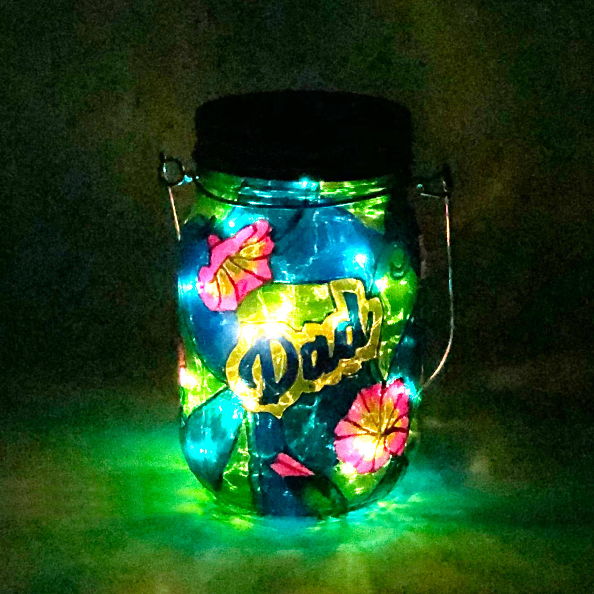 Dad Memorial Light / Dad Garden Light / 500ml / Hand Painted Stained Glass Light