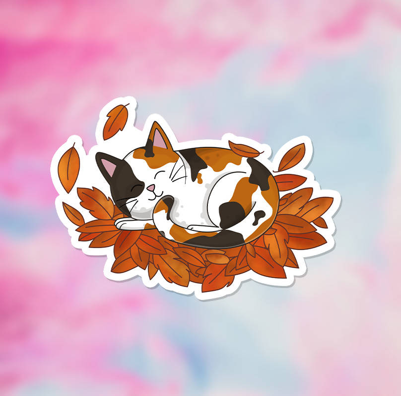 "Fall Leaves Cat Vinyl Sticker (3"") - glossy finish"