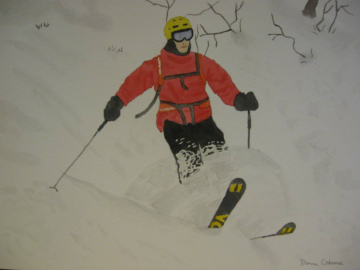 "'The Skier"" Watercolor Painting"