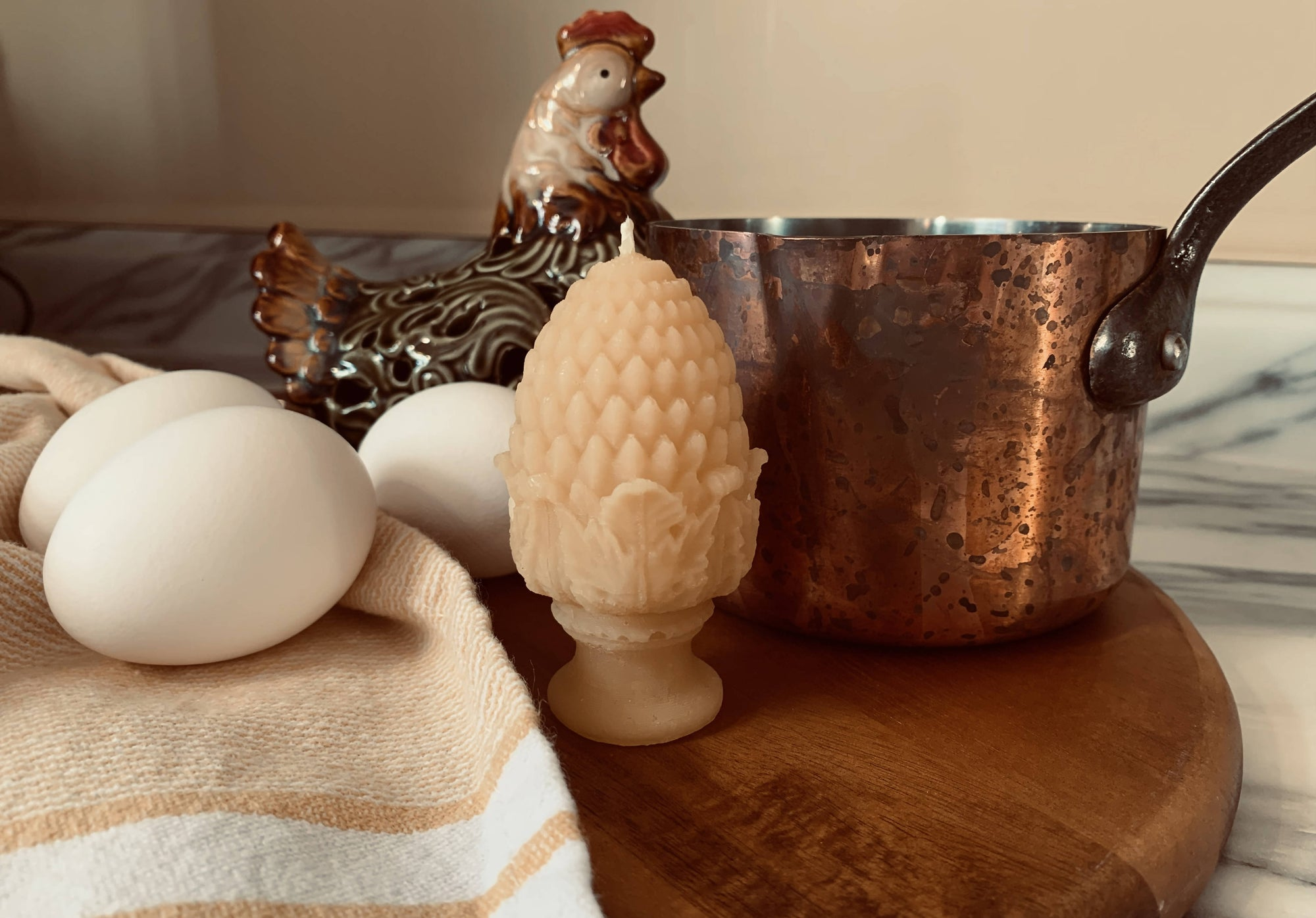 Pure Canadian Beeswax Candles. - Egg & Cup