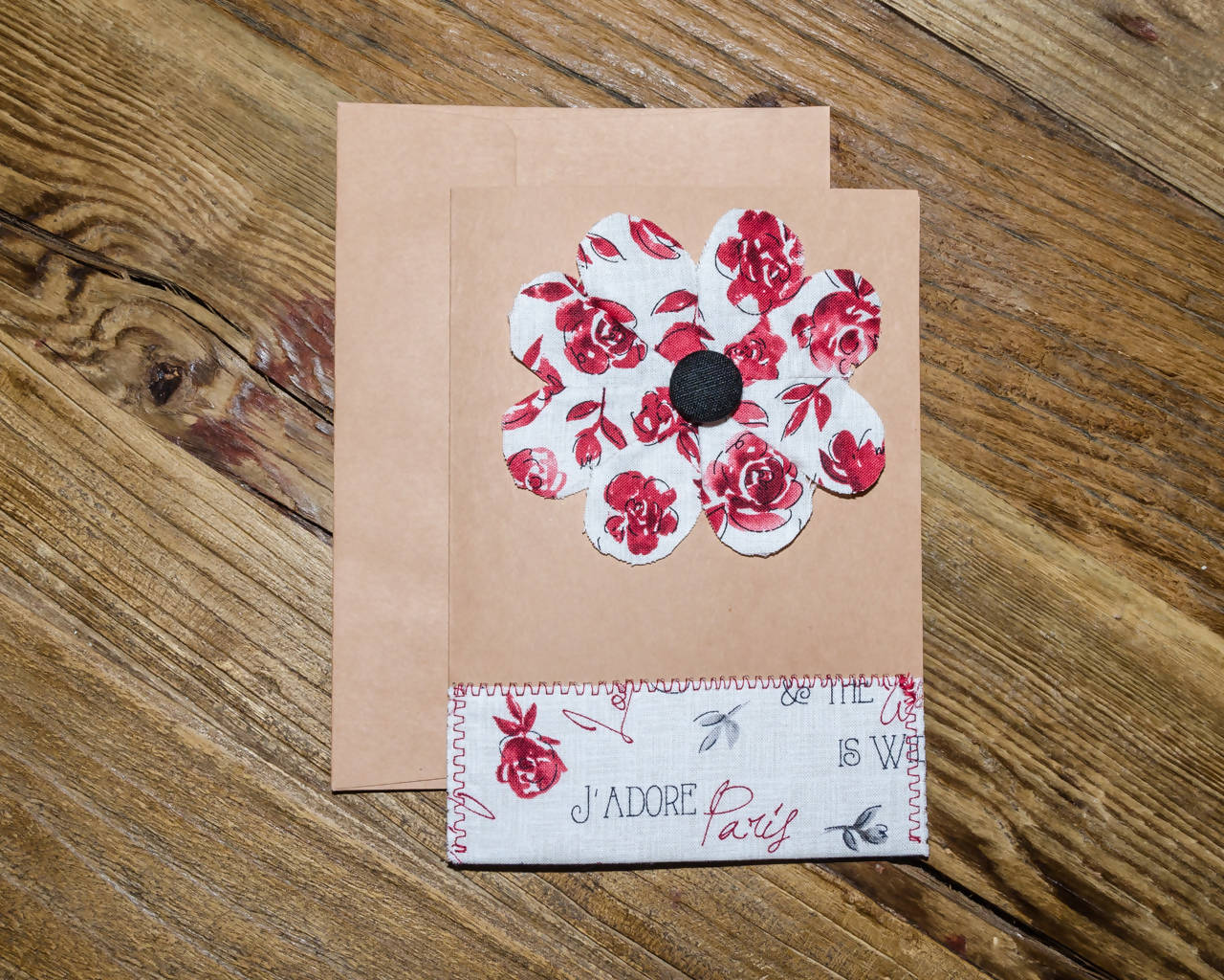 Hearts Flower Paris themed Greeting Card - Handmade - Fabric on paper / Blank Inside for any occasion