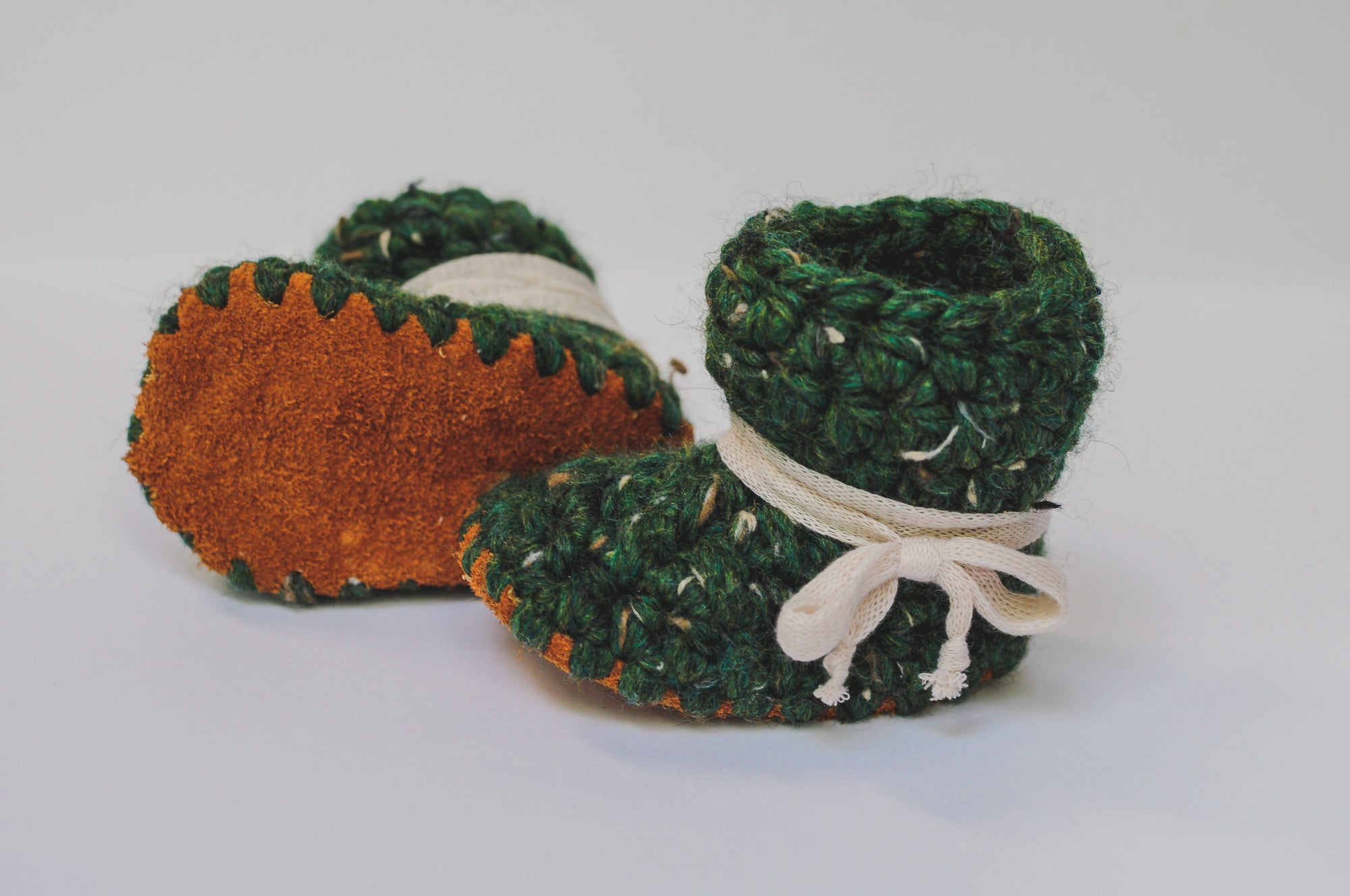 Baby Shoes // Baby Slippers // Crochet Booties // Leather Bottom Boots // Newborn Baby Toddler Child - Pine with Ivory Laces