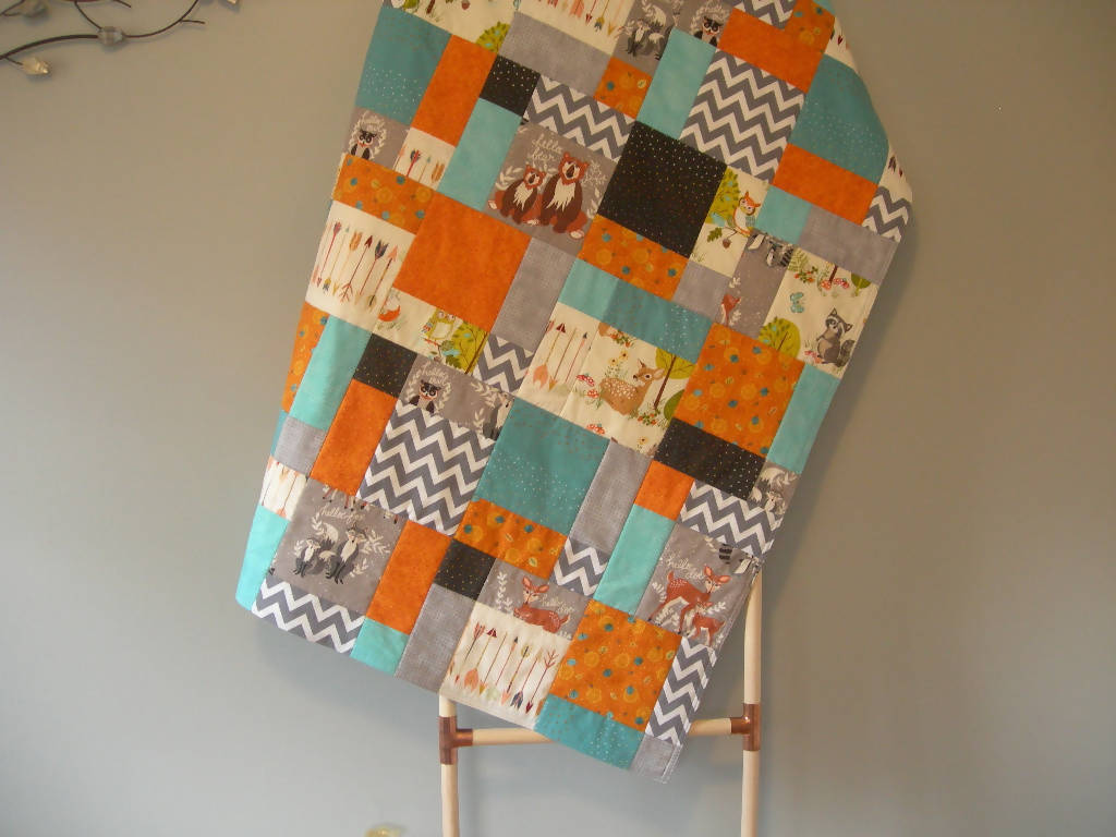 Woodland Modern Baby Quilt - Grey, Turquoise, Orange - Arrows, Chevron and Animals - 48 x 40 inches