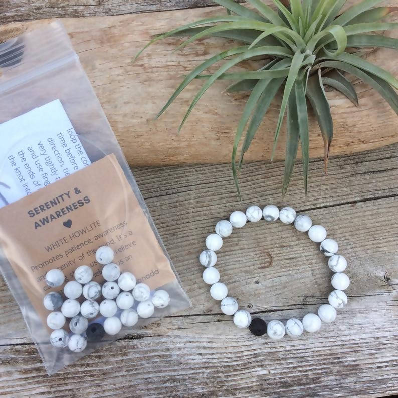 DIY Make Your Own Bracelet Kit, White Howlite 8mm Stretch Bracelet