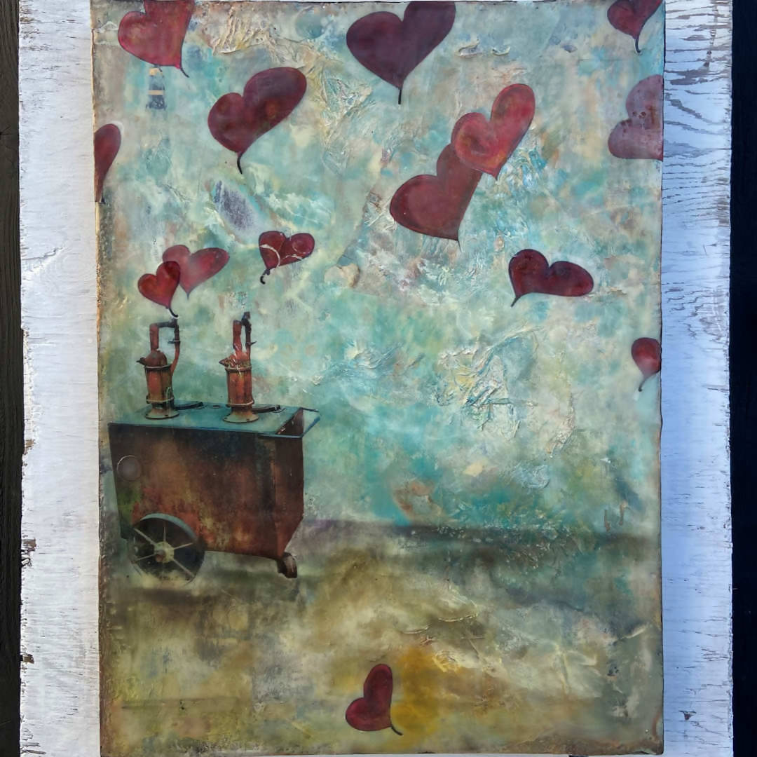 Luckenbach hearts – Mixed media, encaustic on wood panel, 12X16 inches