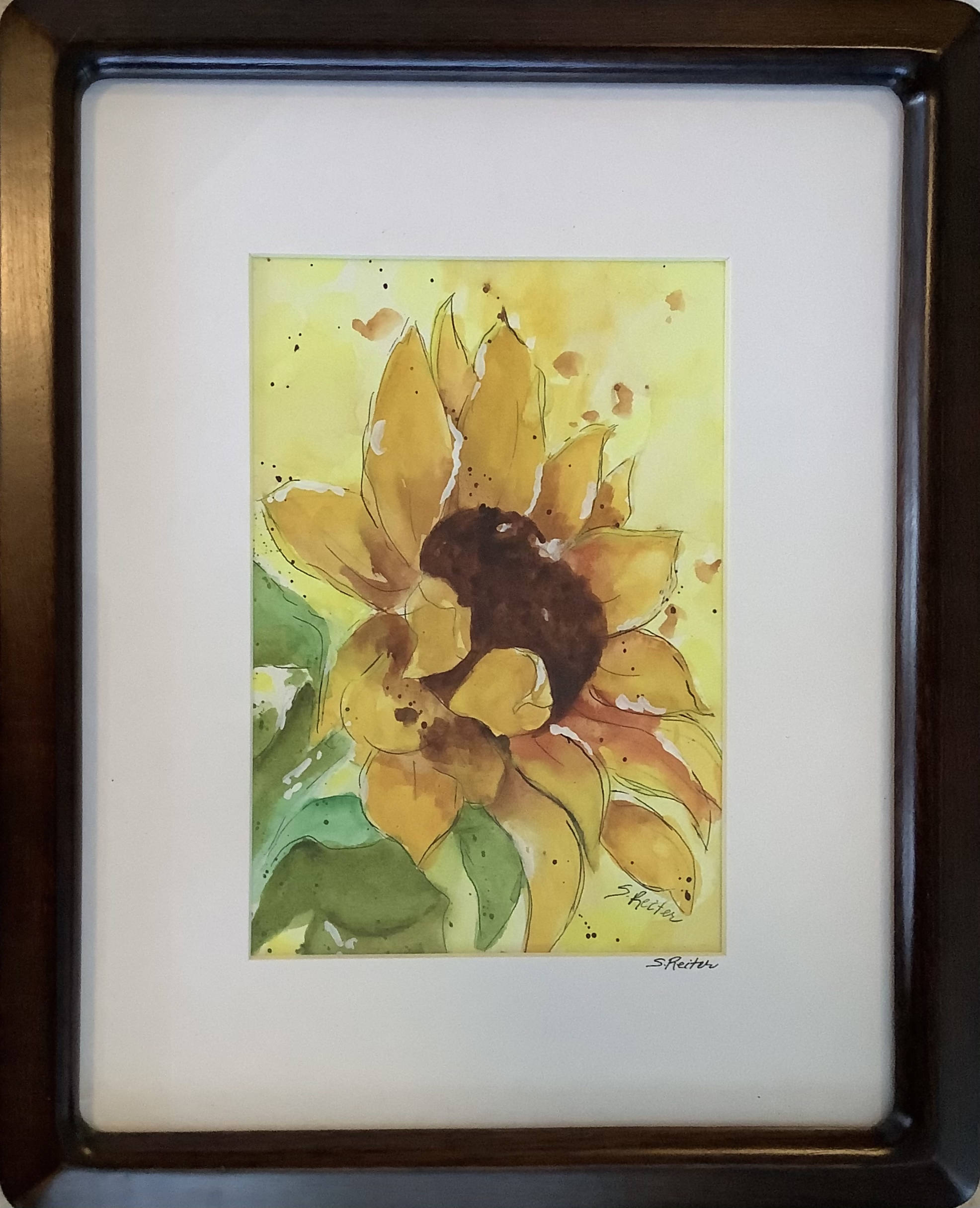 Watercolour Painting of a Sunflower With Pen and Ink - Frame included