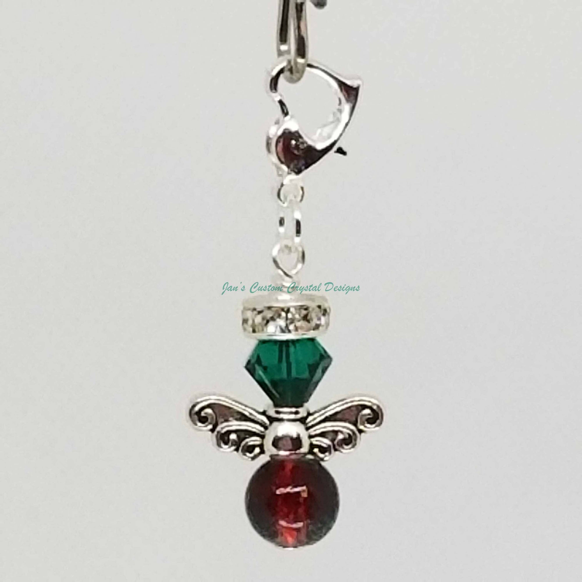 Candy Drop Angel - Swarovski® Crystal and Crackle Glass Bead Zipper Pull - Emerald Green