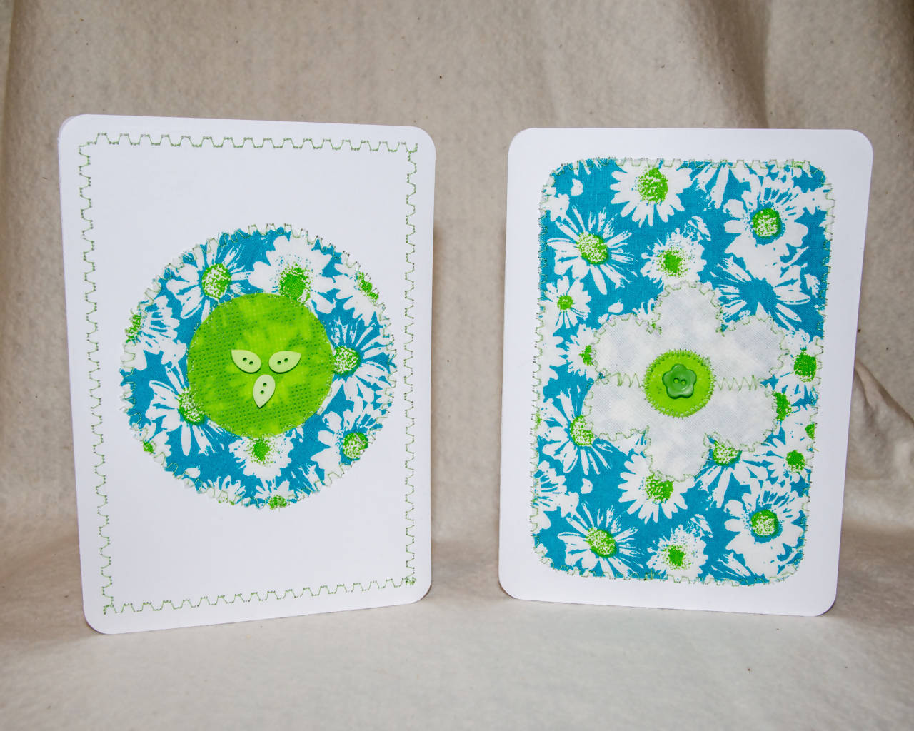 Flower Greeting cards - Handmade - Fabric on paper / Blank Inside. Package of 2