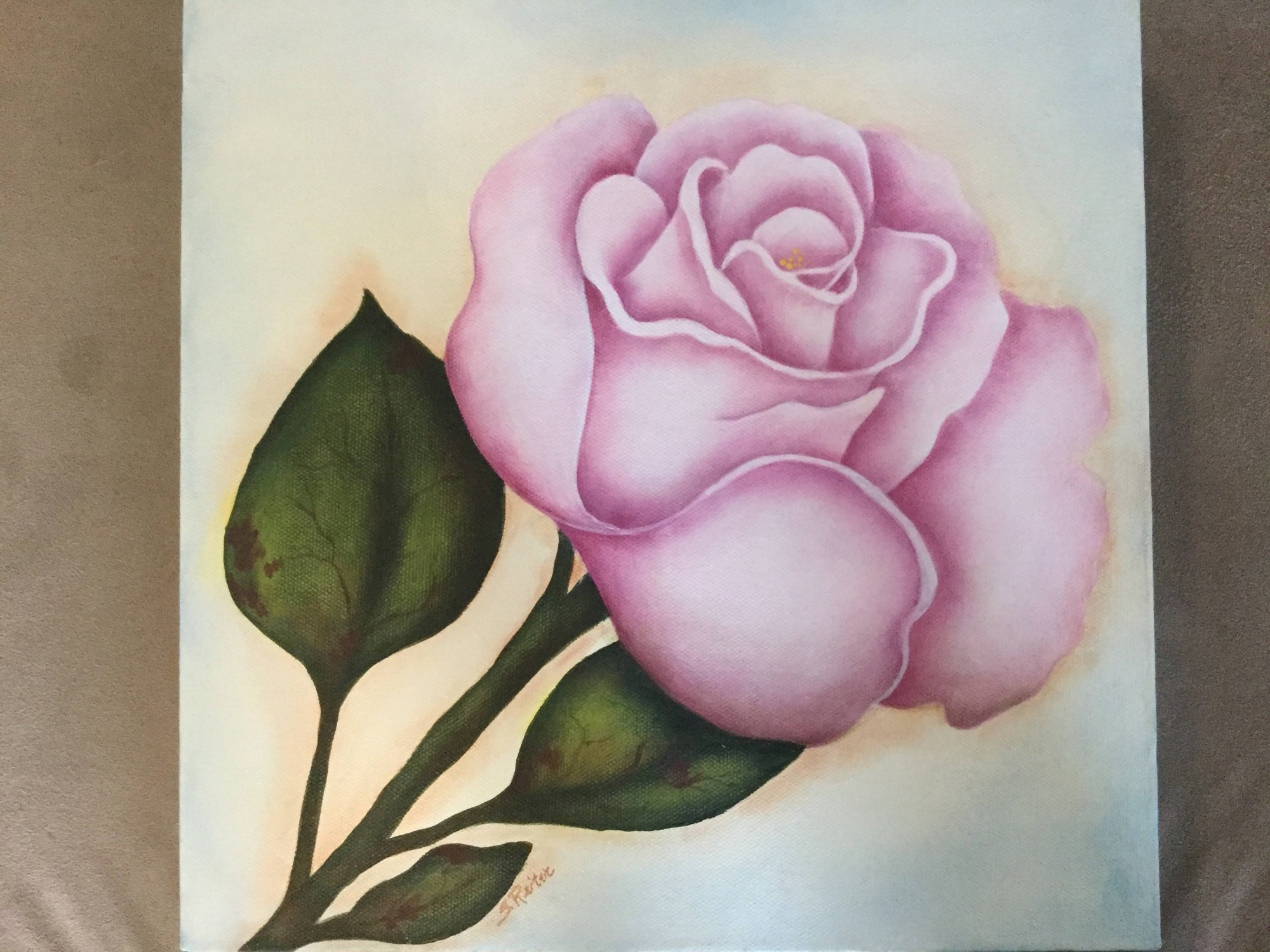 An Original Painting of a Pink Rose- Gallery Canvas