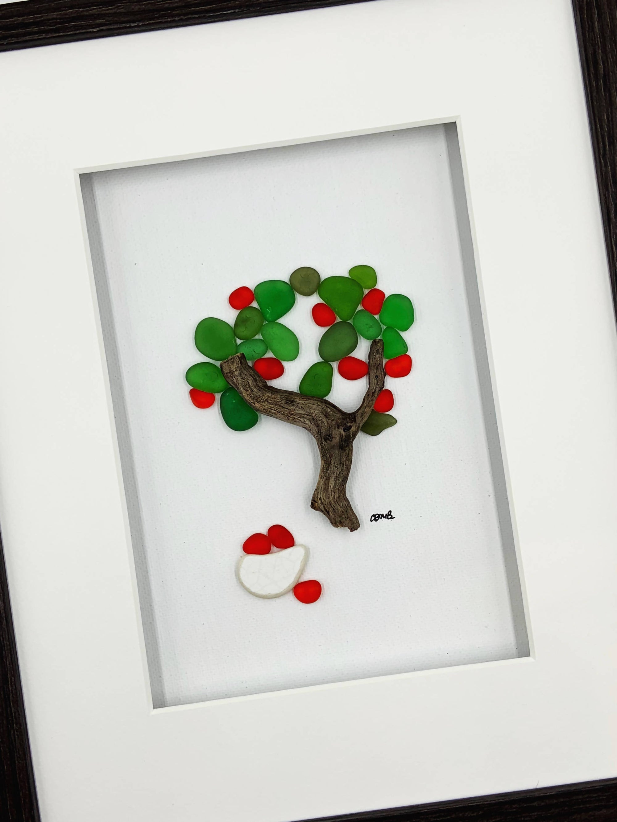 Pebble art / Sea glass art, 8 by 10, Apple tree