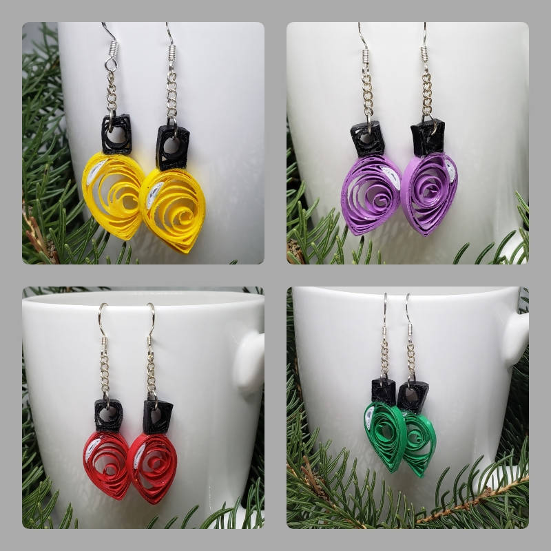 """FREE SHIPPING"" Quilled Christmas Tree Lights Earrings (Sterling Silver)"