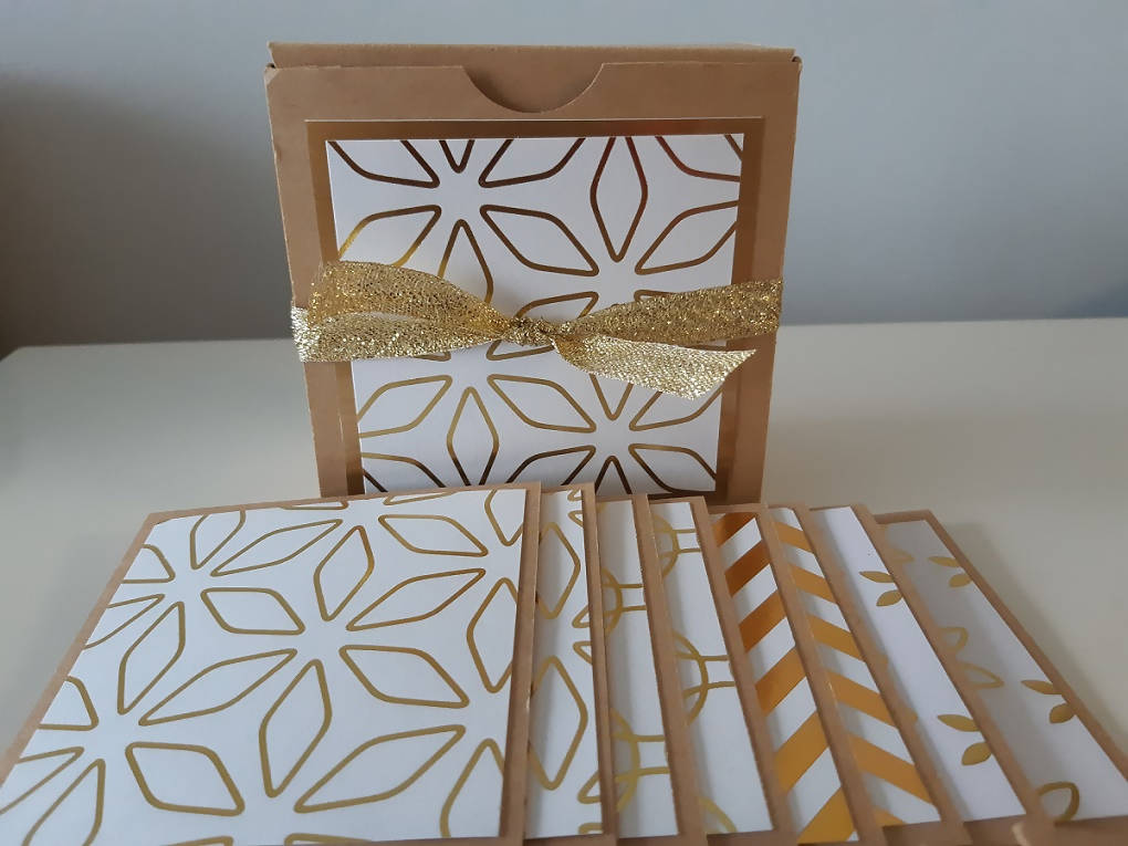 Kraft White and Gold Mini Cards in Box