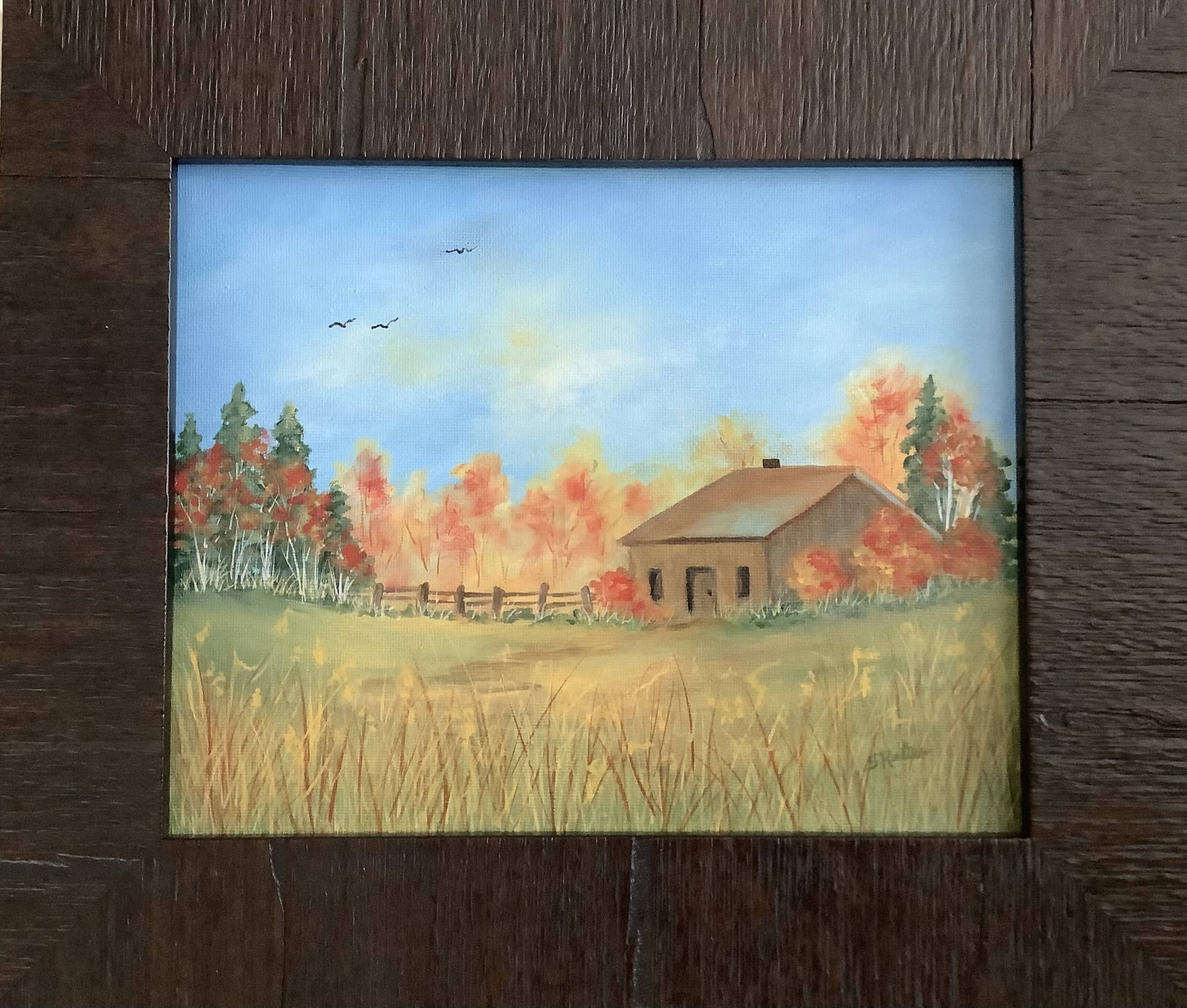 An Original Fall Painting of a House in the Countryside - Framed
