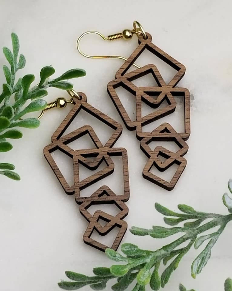 Walnut geometric square earrings