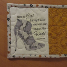 Load image into Gallery viewer, STILETTO BOOT (gold fabric) HANDMADE QUILTED MUG RUG