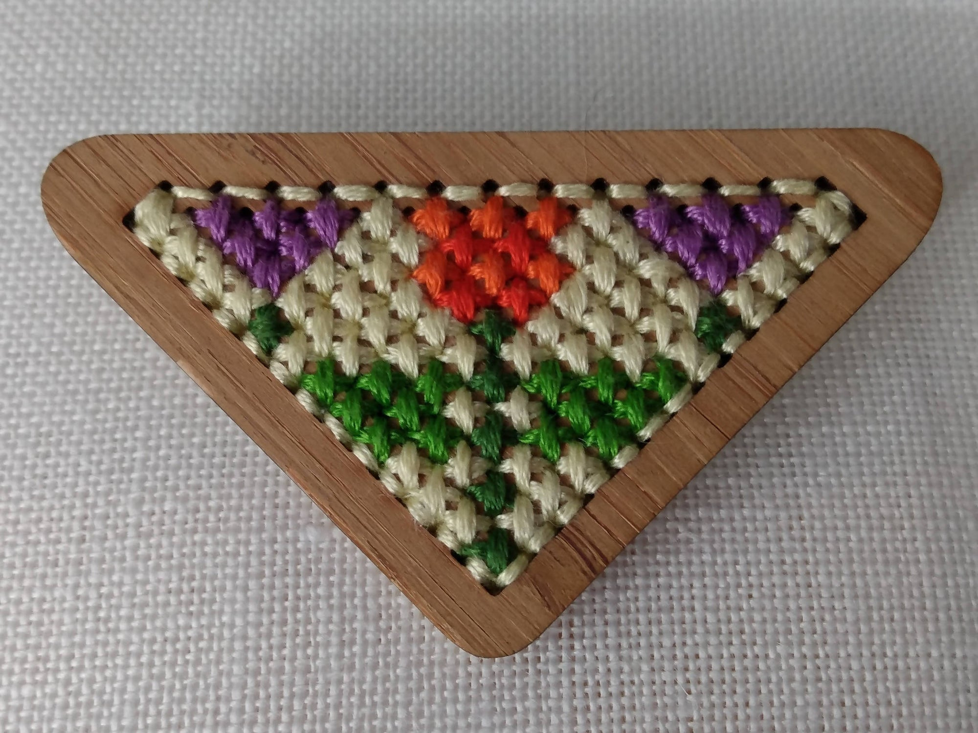 Bamboo Cross Stitched Tulip and Crocuses Brooch