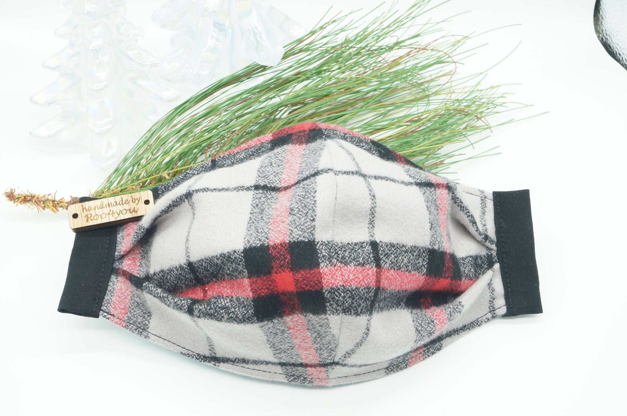 Grey/Black/Red Plaid Flannel Mask FREE SHIPPING