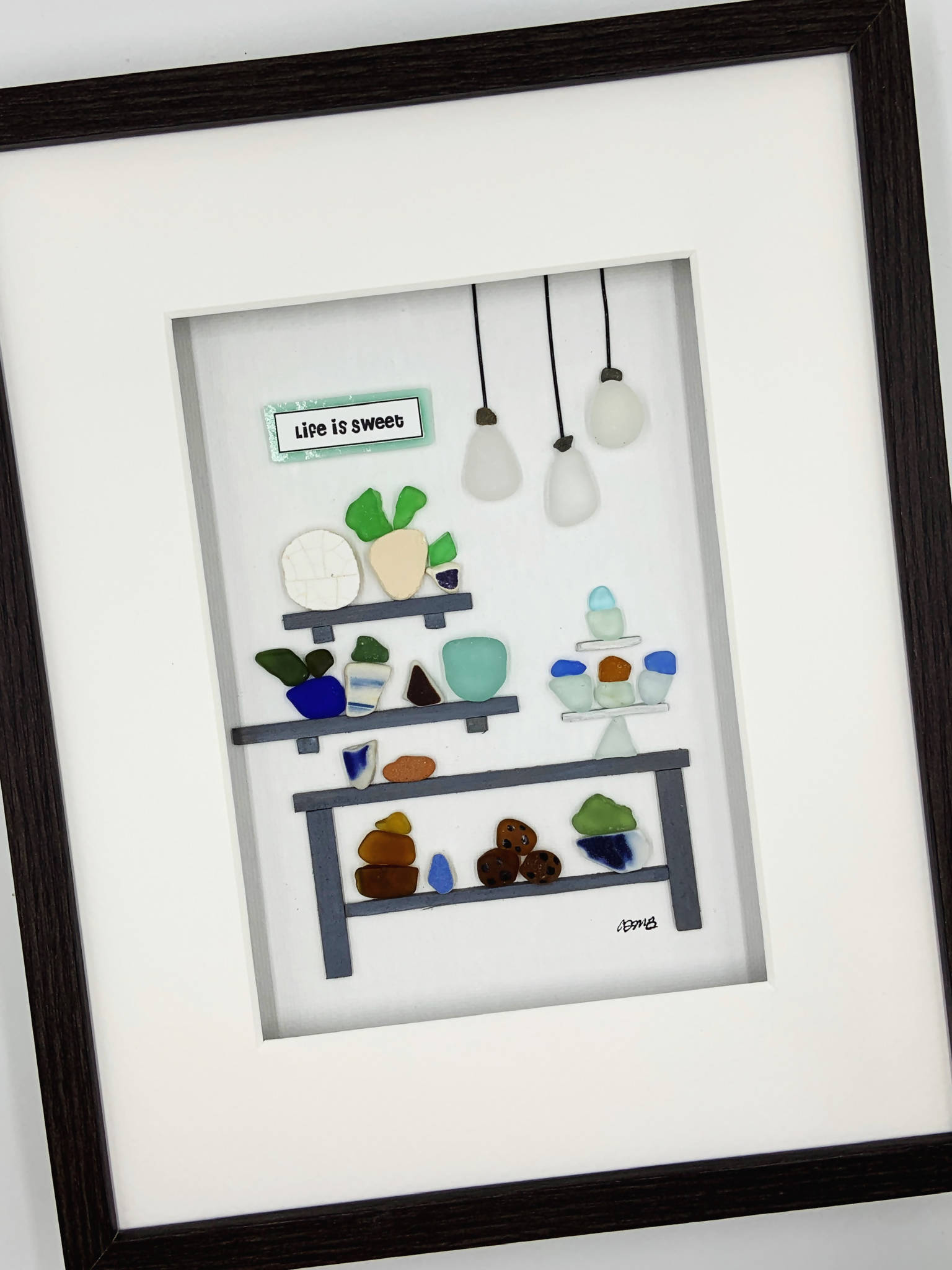 Pebble Art, 8 by 10, Sea glass kitchen