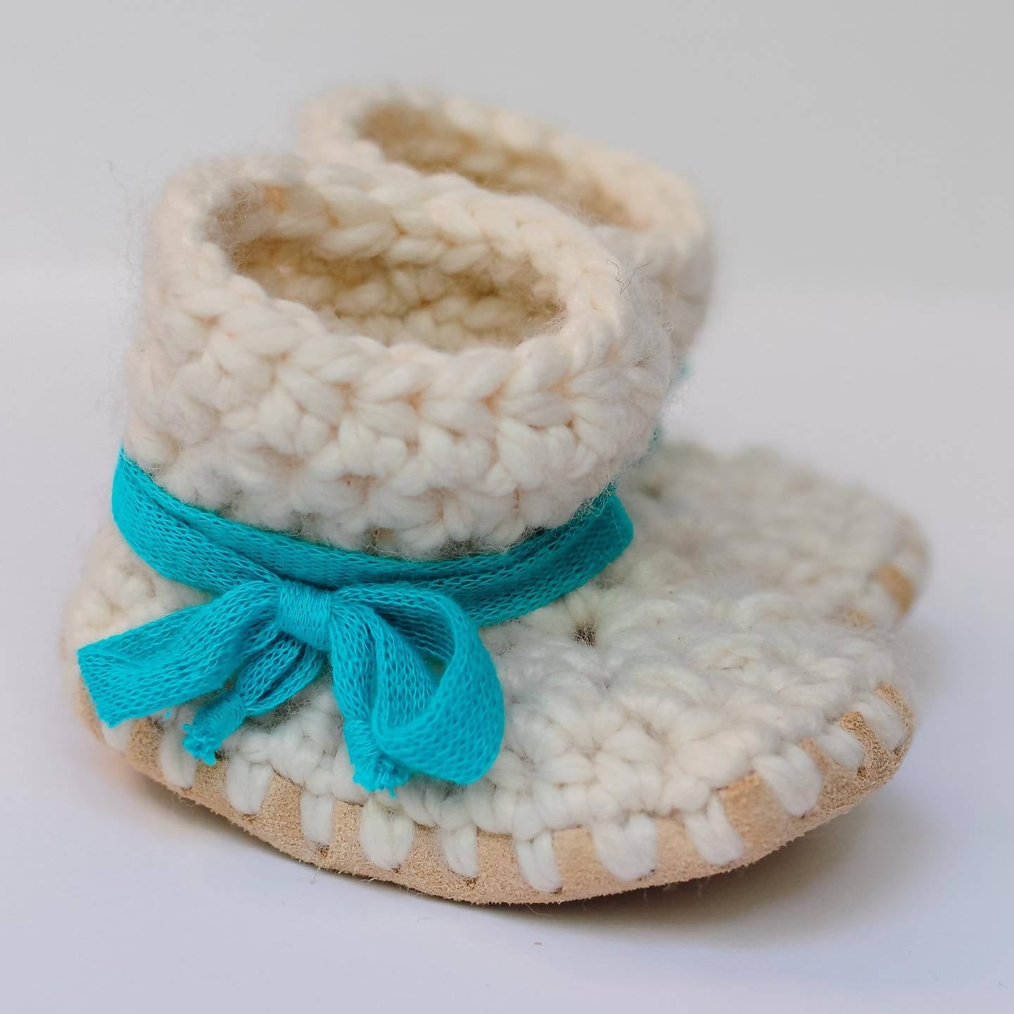 Baby Shoes // Baby Slippers // Crochet Booties // Leather Bottom Boots // Newborn Baby Toddler Child - NEUTRAL with TEAL Laces