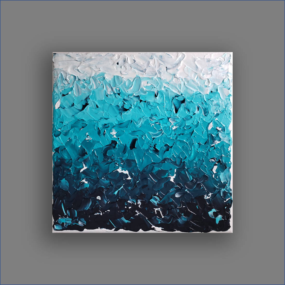 """Deep Water"" Small Textured Abstract Painting"