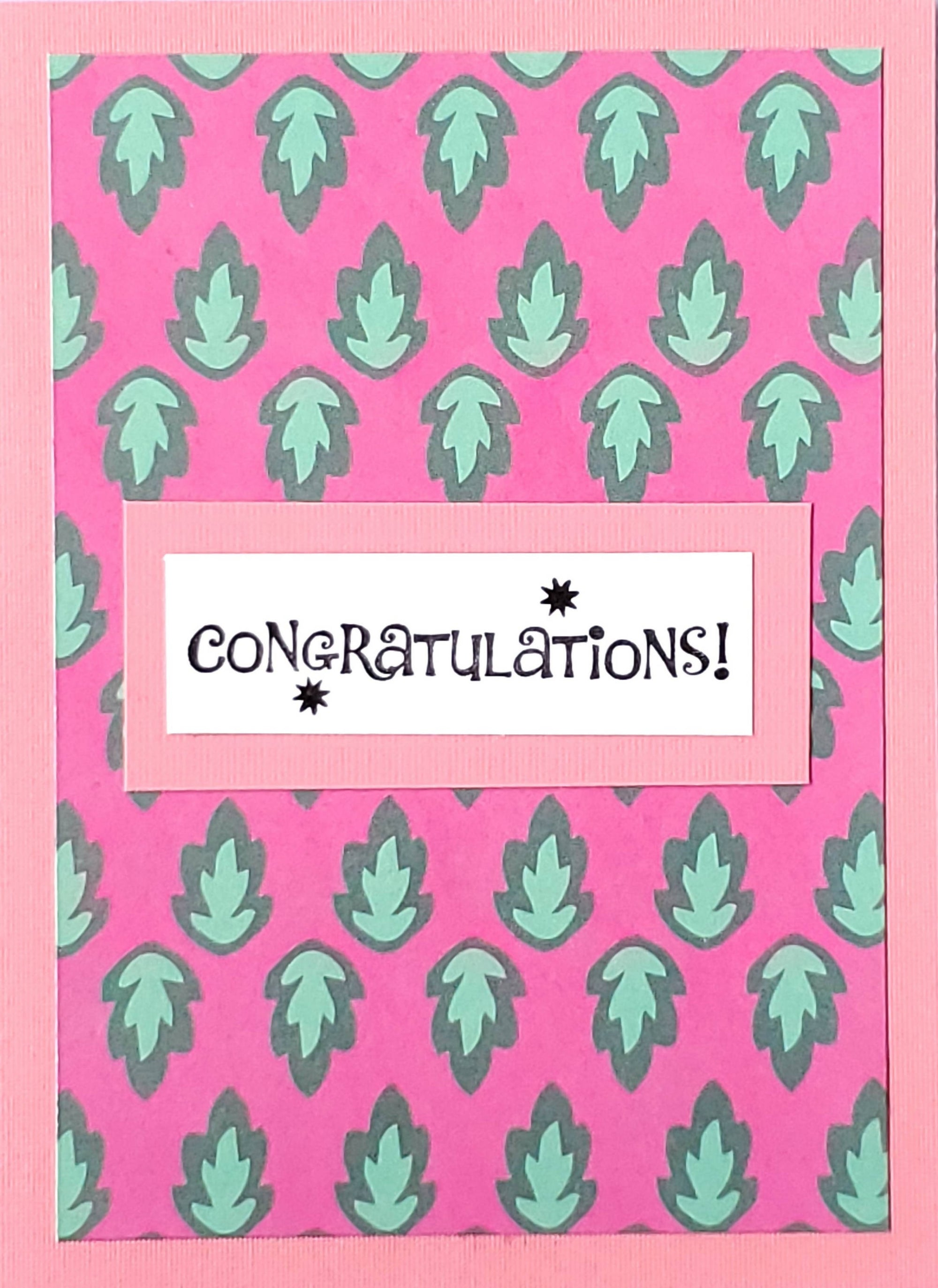 Congratulations Card (Funky Pink and Green)
