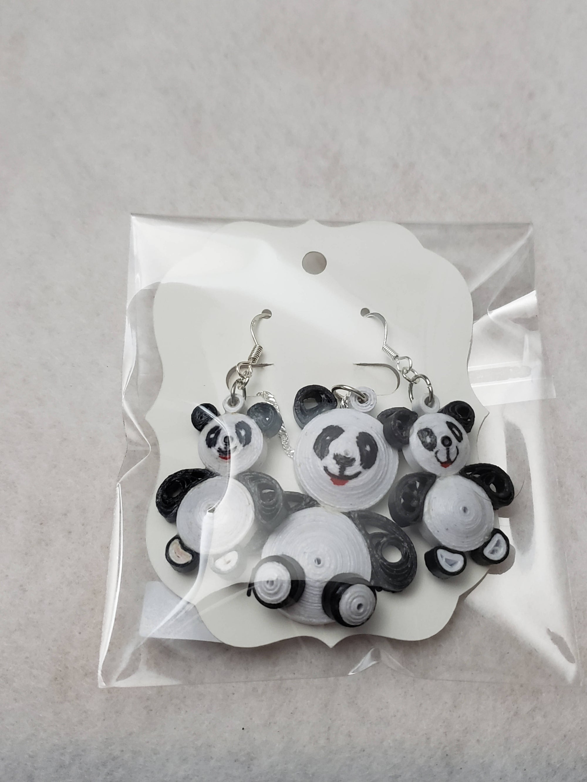 """FREE SHIPPING"" Quilled Panda Bear Earrings and Necklace Set (sterling silver)"