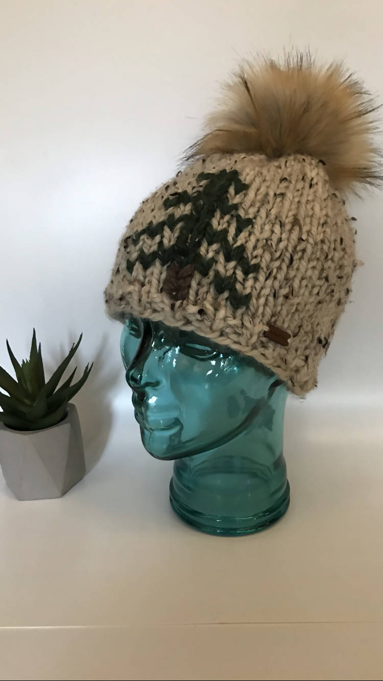 Knit Hat with Tree Motif and Faux Fur Pompom