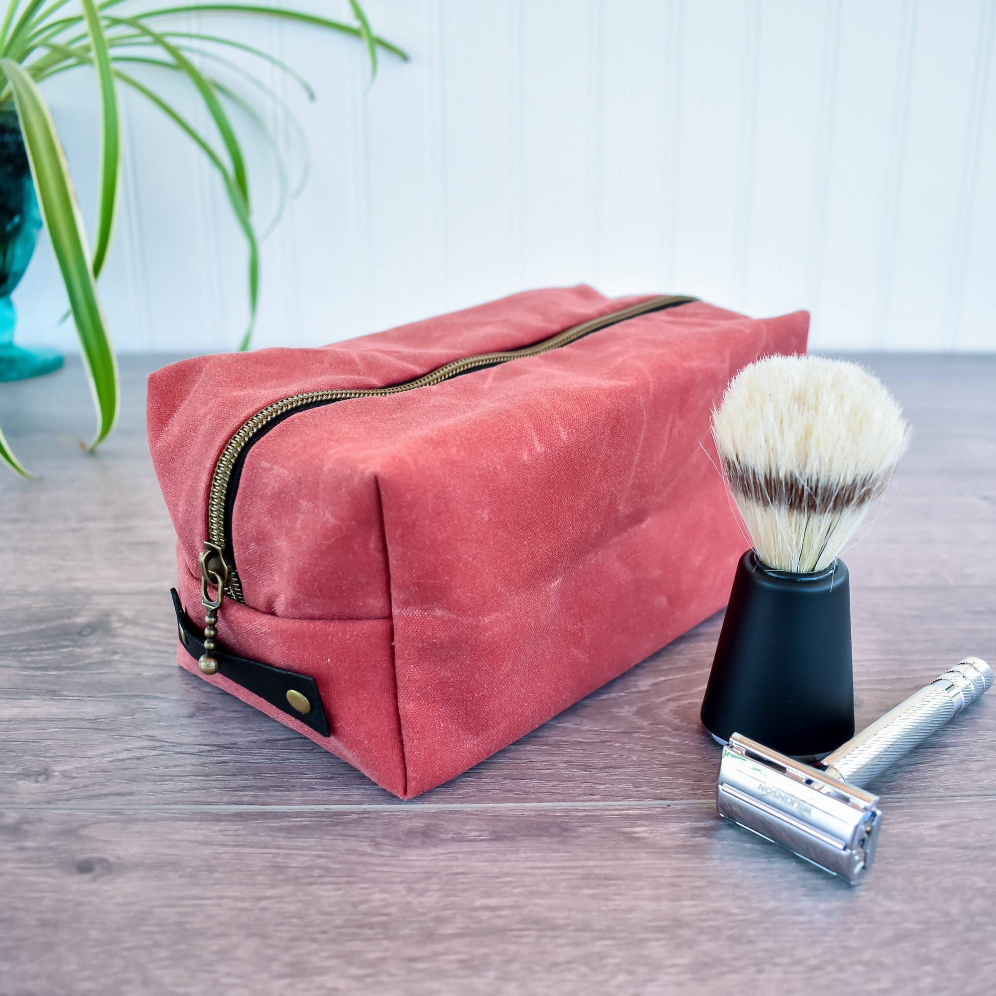 Nautical Red Waxed Canvas Dopp Kit Toiletry Bag