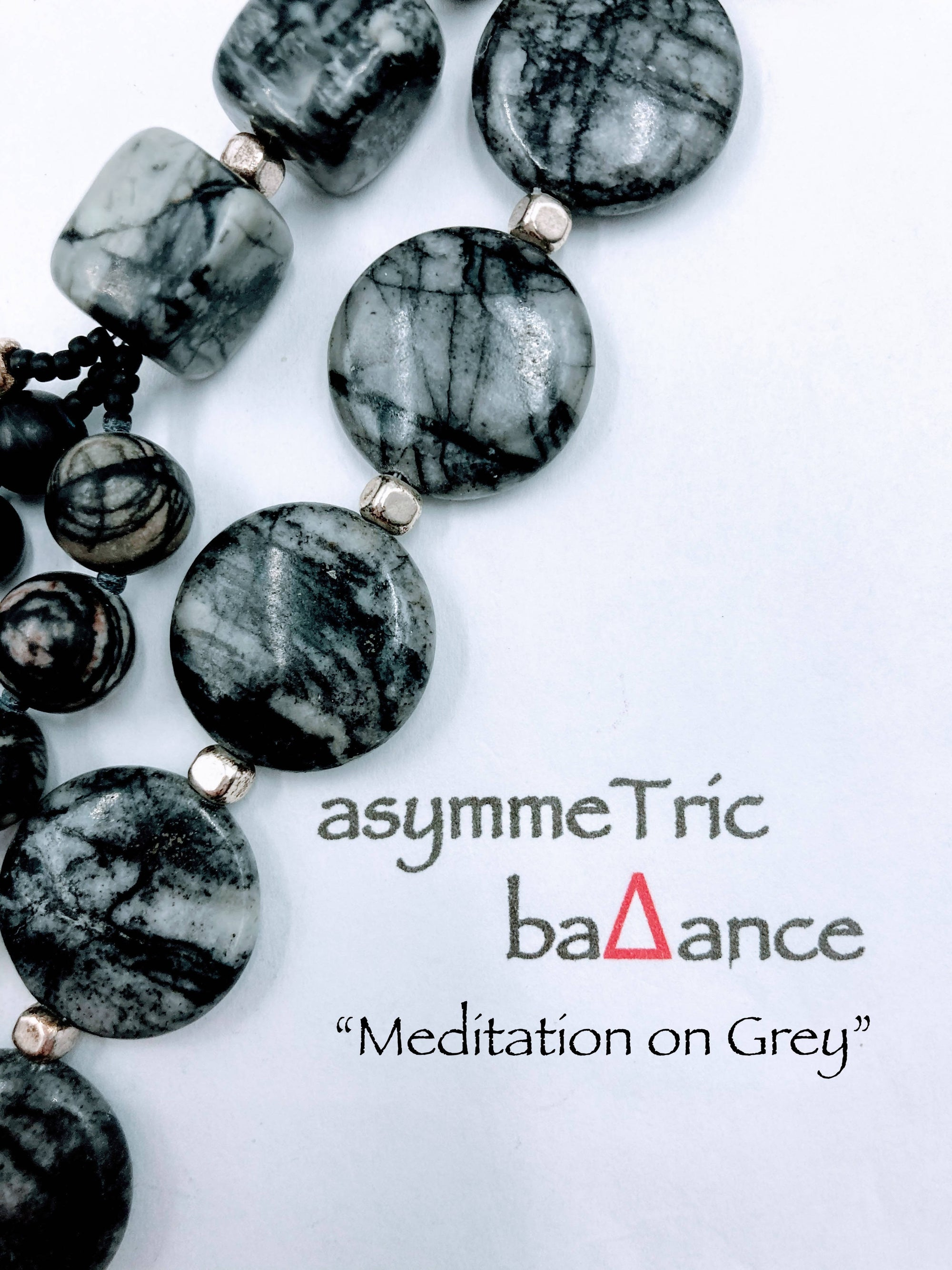 Meditation on Grey: understated sophisticated picasso jasper multi-strand statement necklace