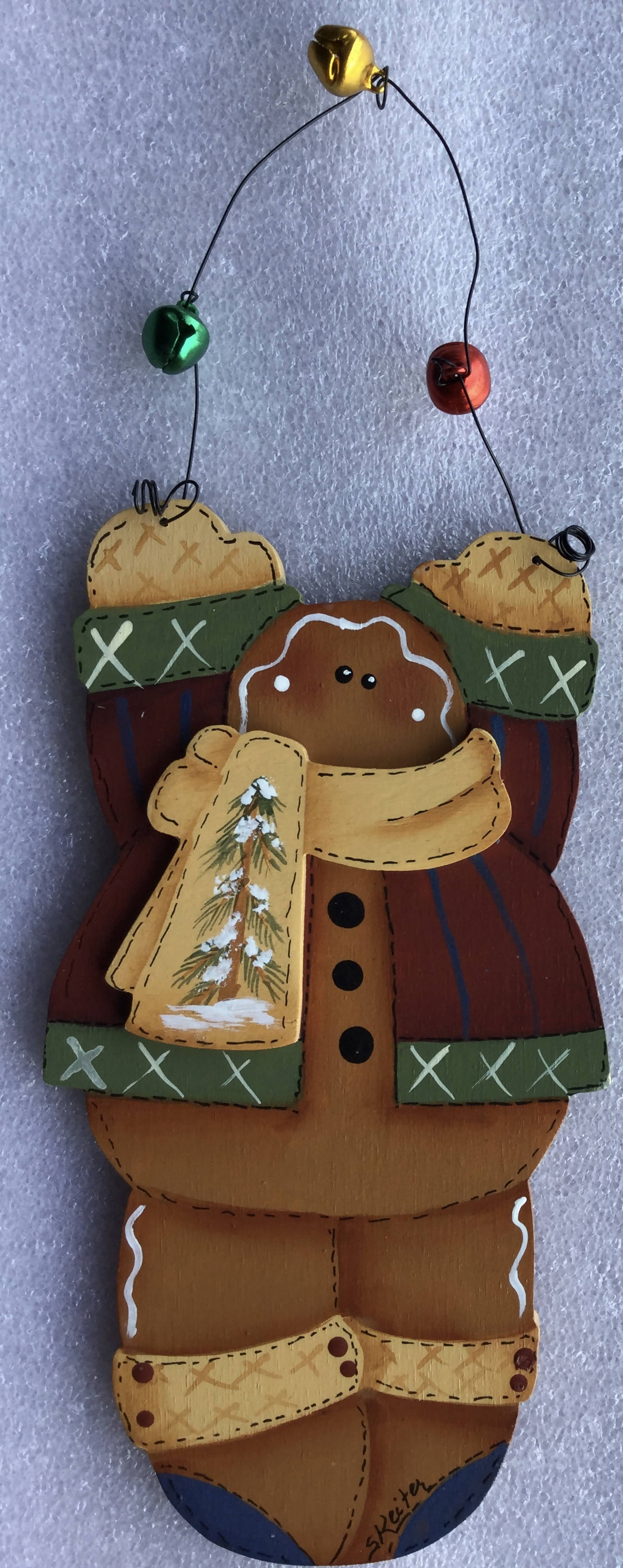 Wooden cut out Christmas Ornament Hand Painted with A Gingerbread Boy