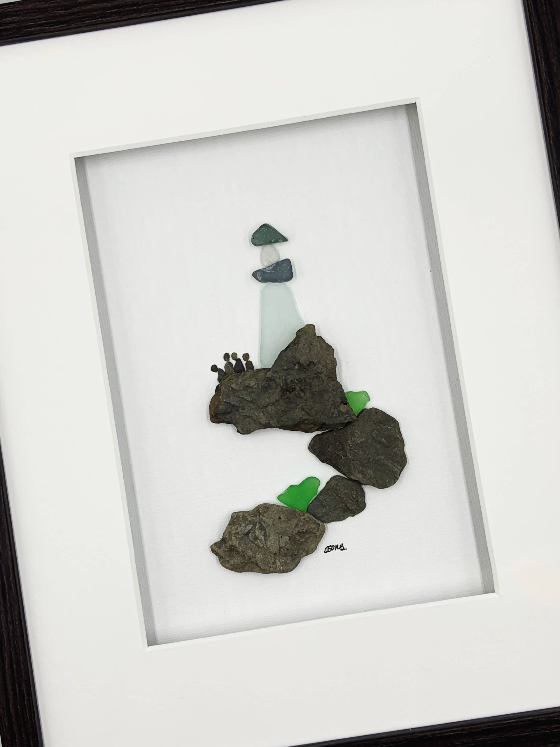 Pebble art / Sea glass art, 8 by 10, family, lighthouse