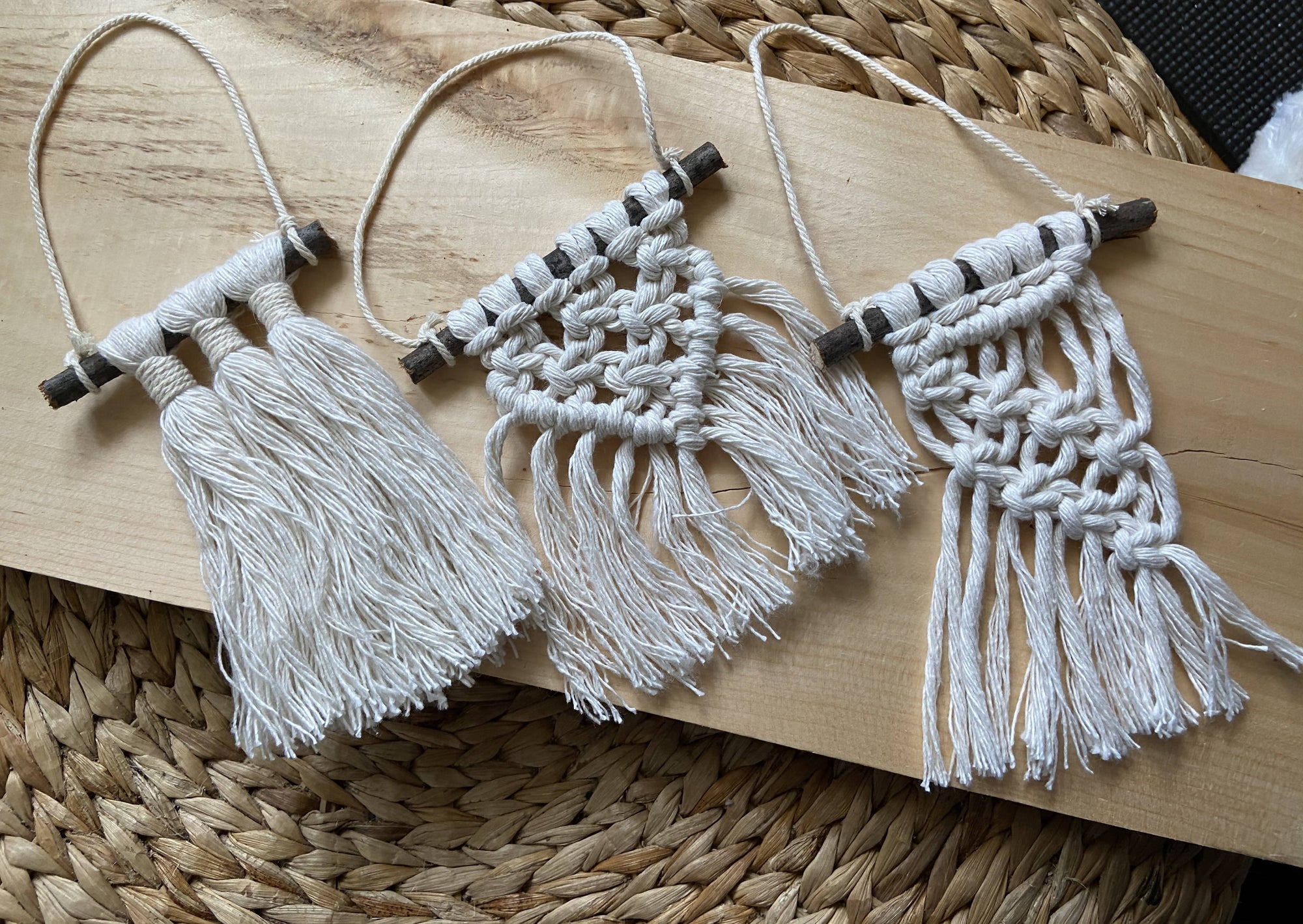 SET OF 3 Macrame Christmas tree ornament