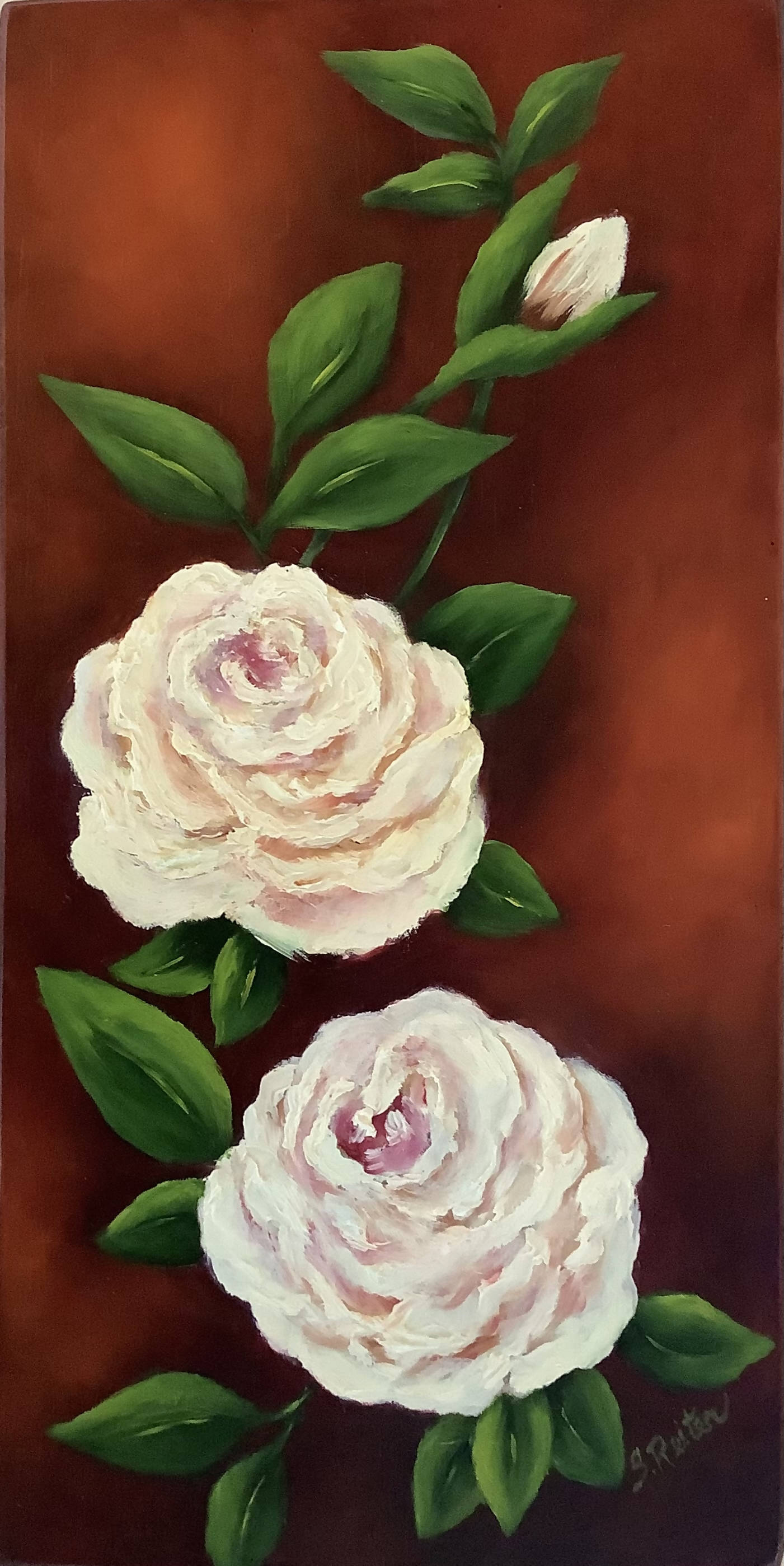 Gallery Board Canvas Hand Painted in Oils with 2 White Roses- Original Design