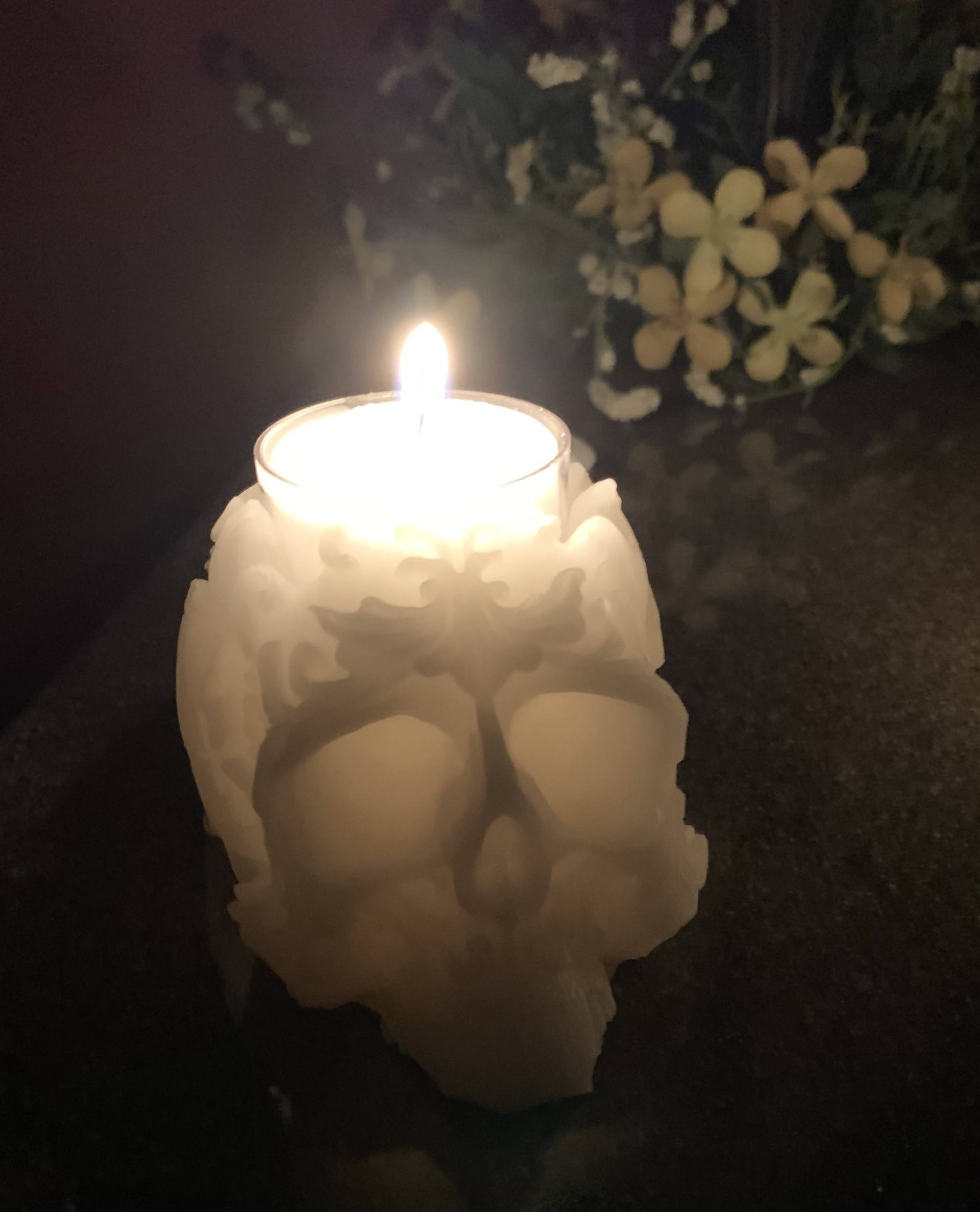 Pure Canadian Beeswax Tea Light Holder - Filigree Skull