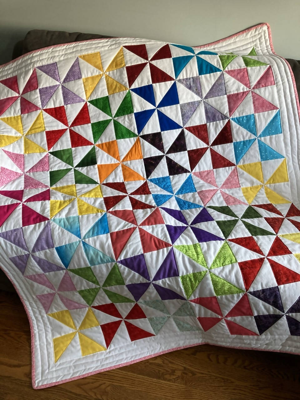 Child's quilt or Couch quilt, Pinwheels