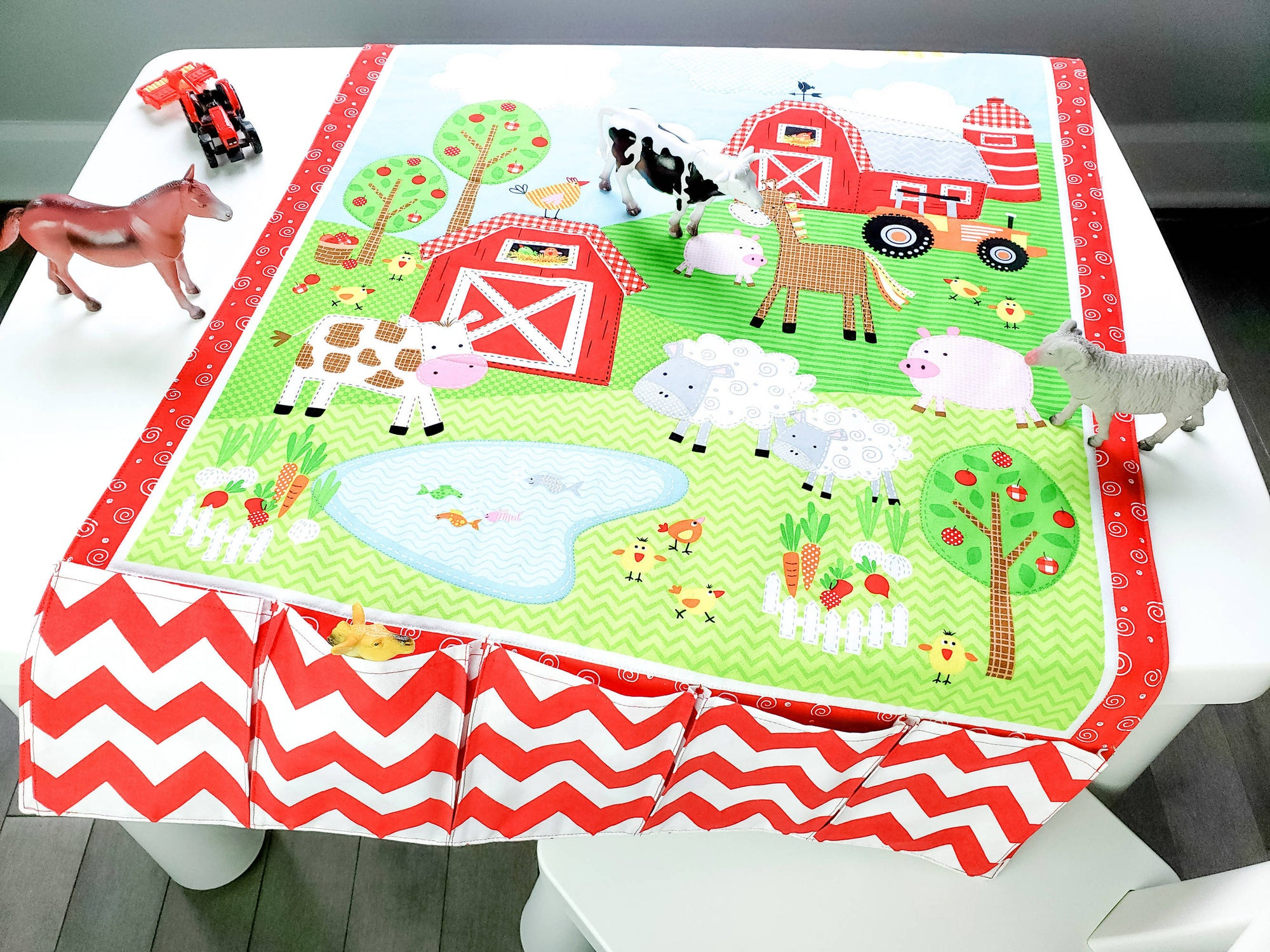 Farm Play Mat - Fold Up Travel Quilt With Pockets for Toy Storage