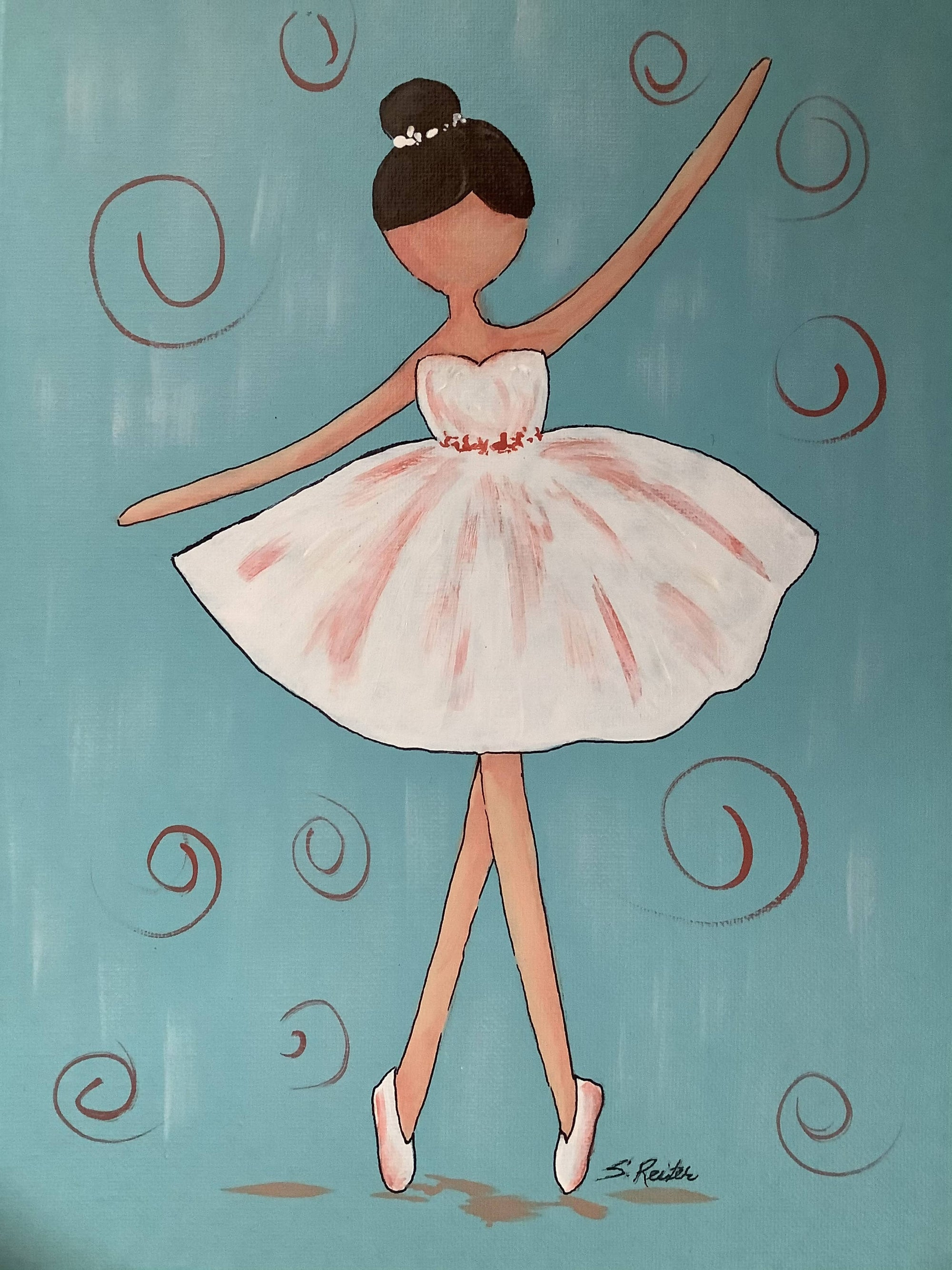 Hand Painted Canvas of a Ballerina